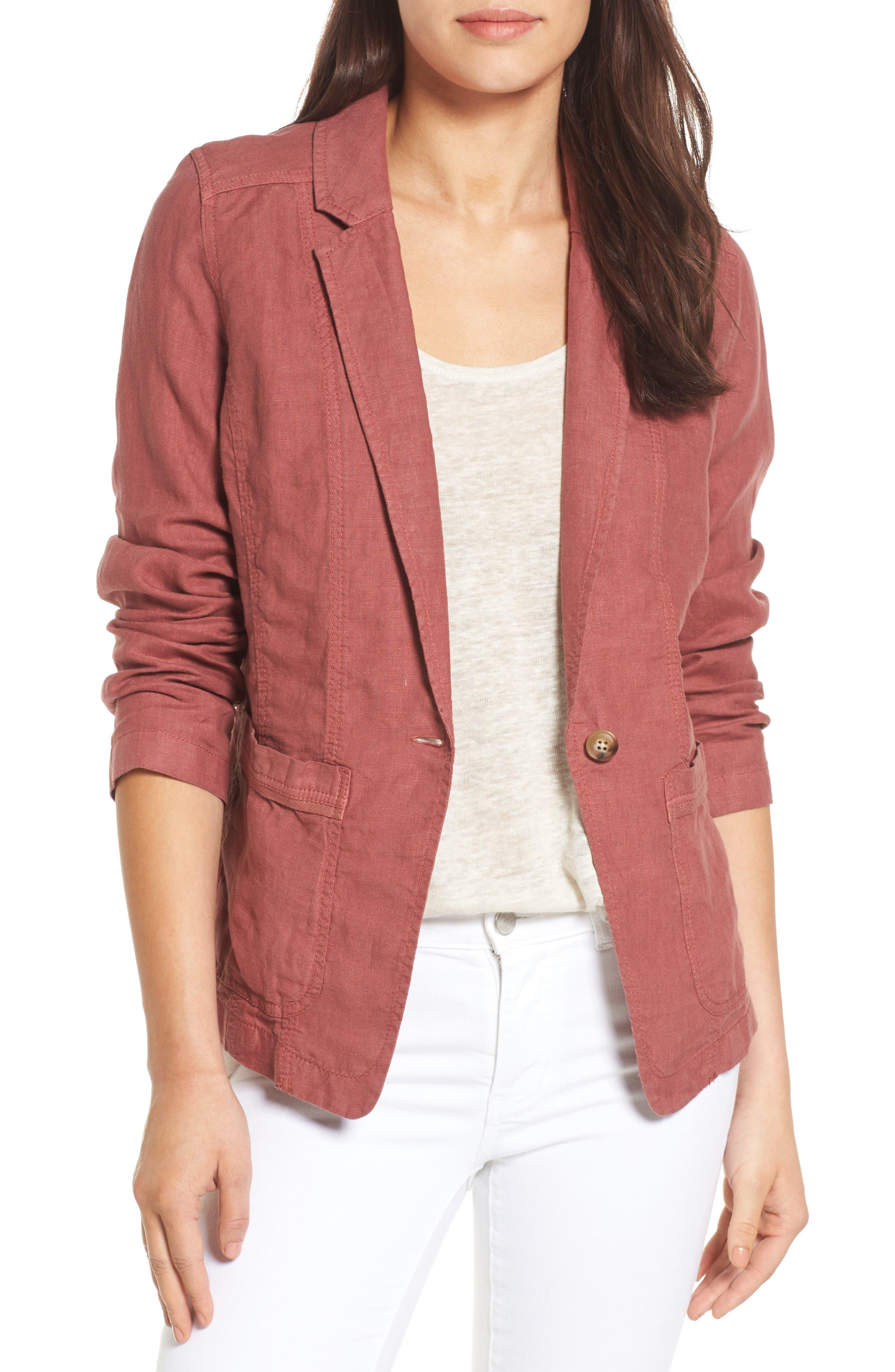 Caslon® Linen One-Button Blazer (Regular & Petite)