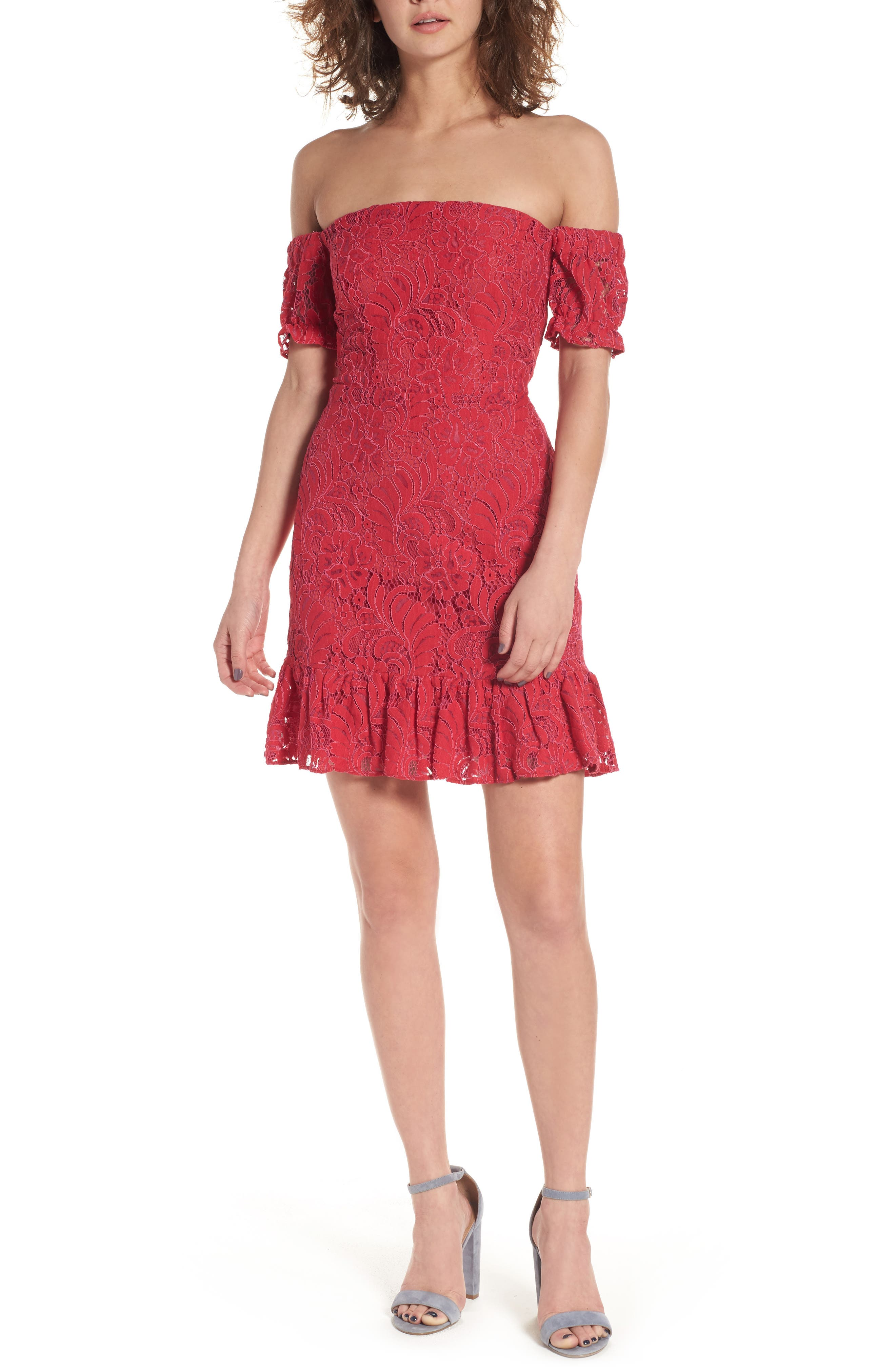 devlin Cecily Lace Off the Shoulder Dress