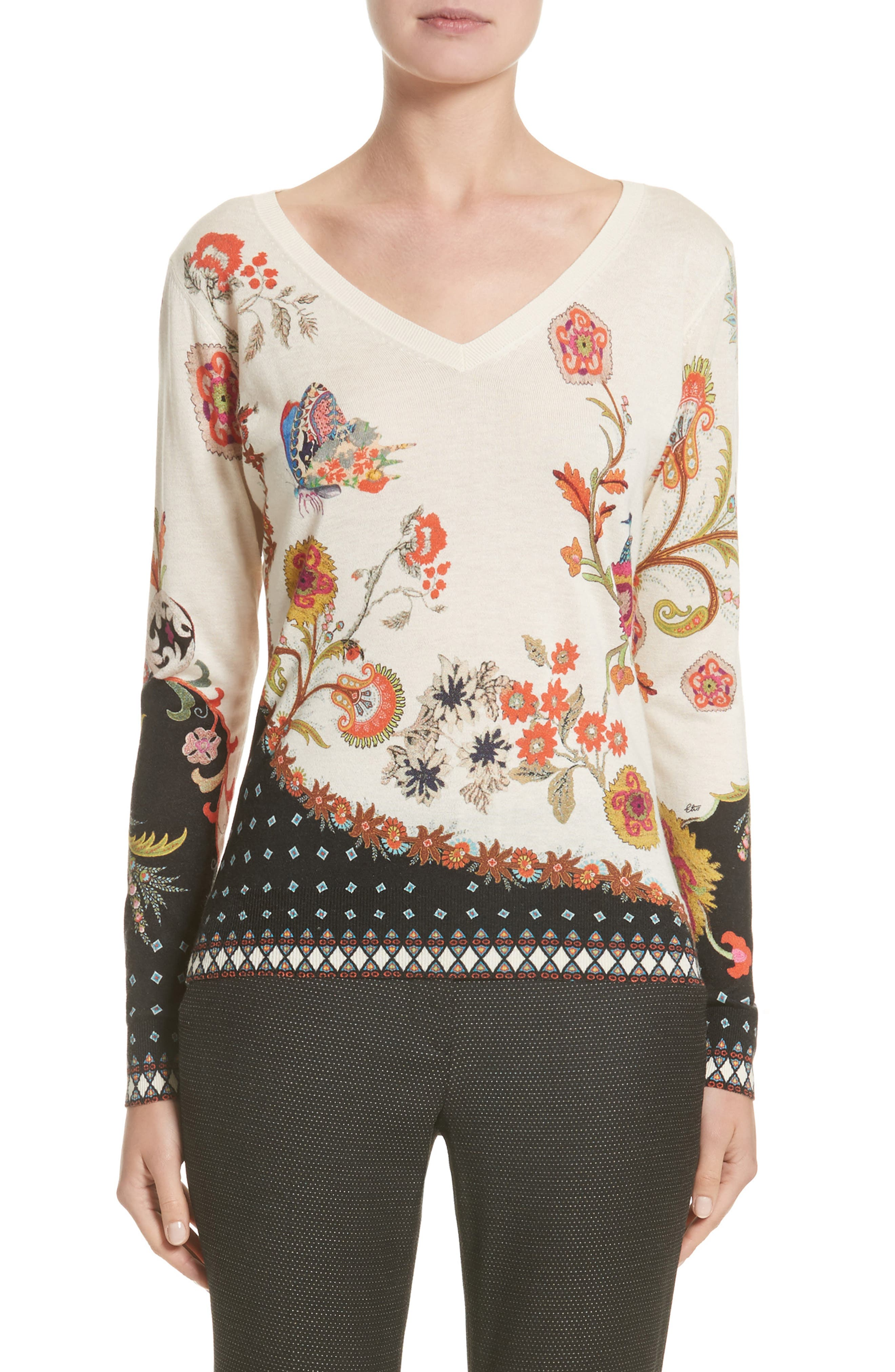 Etro Stampa Croce Silk & Cashmere V-Neck Sweater