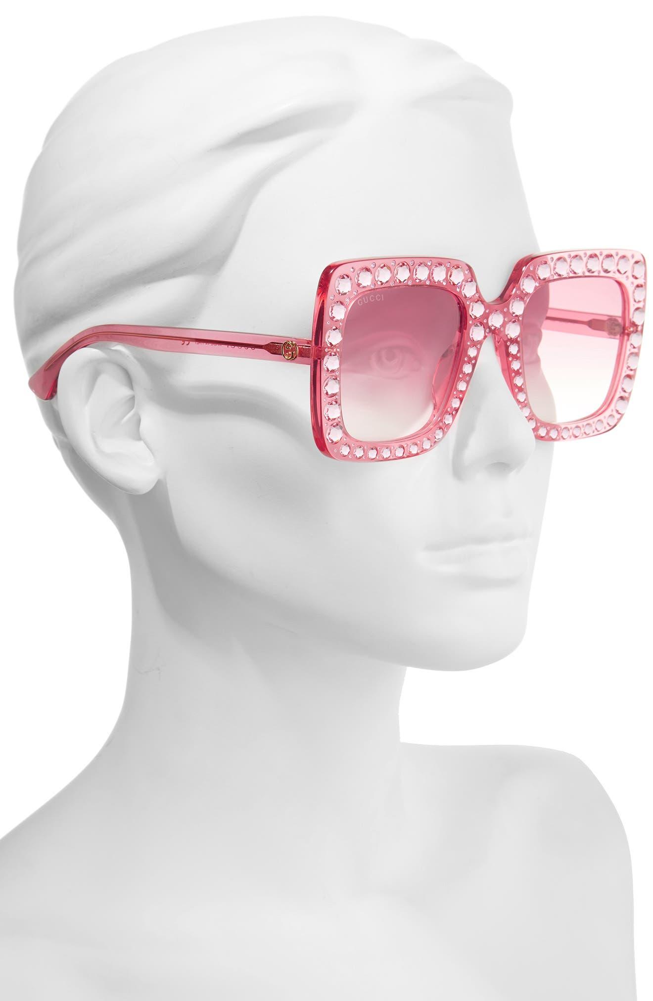 Alternate Image 2  - Gucci 53mm Crystal Embellished Square Sunglasses
