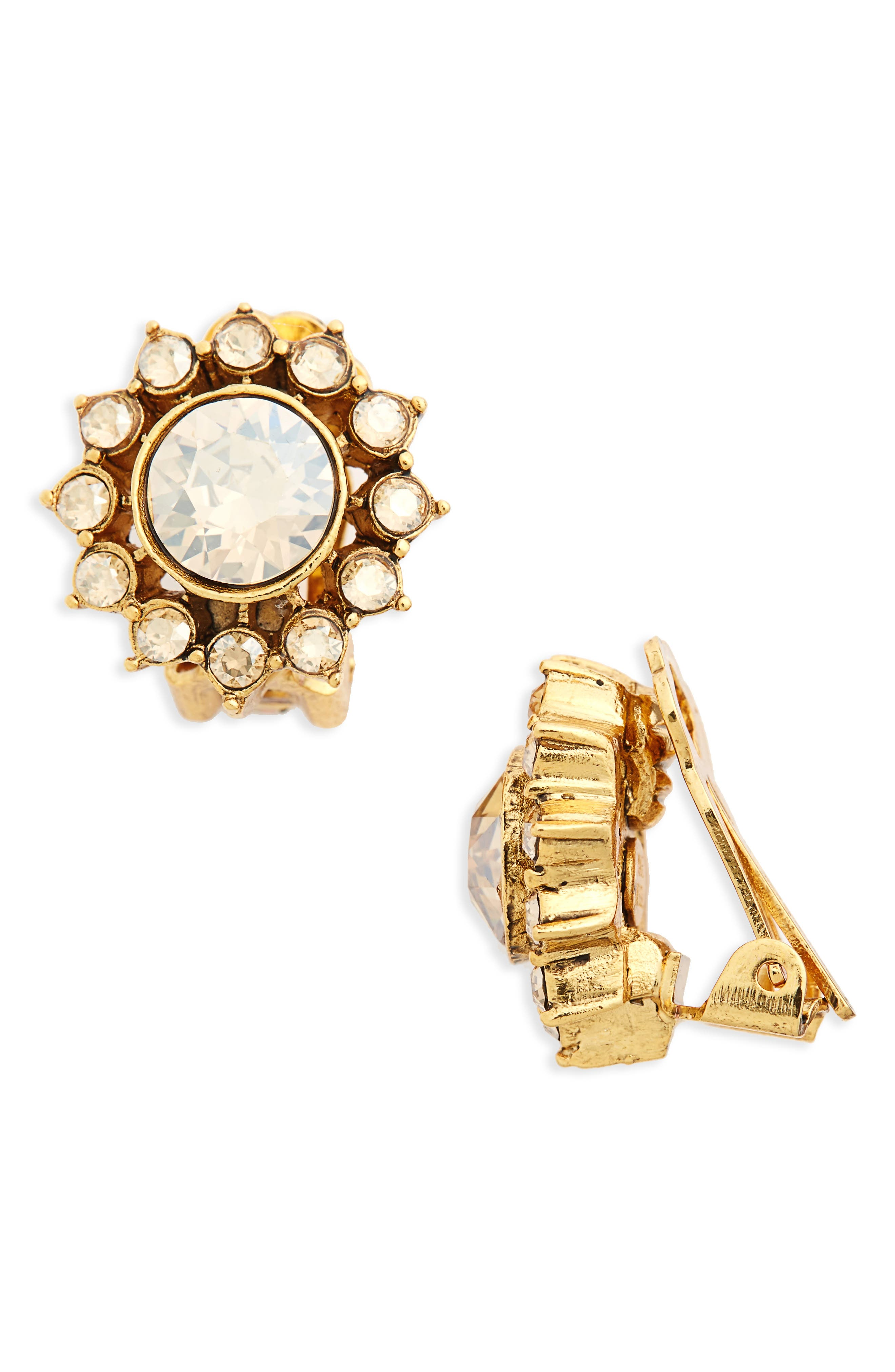Oscar de la Renta Crystal Starburst Clip Earrings