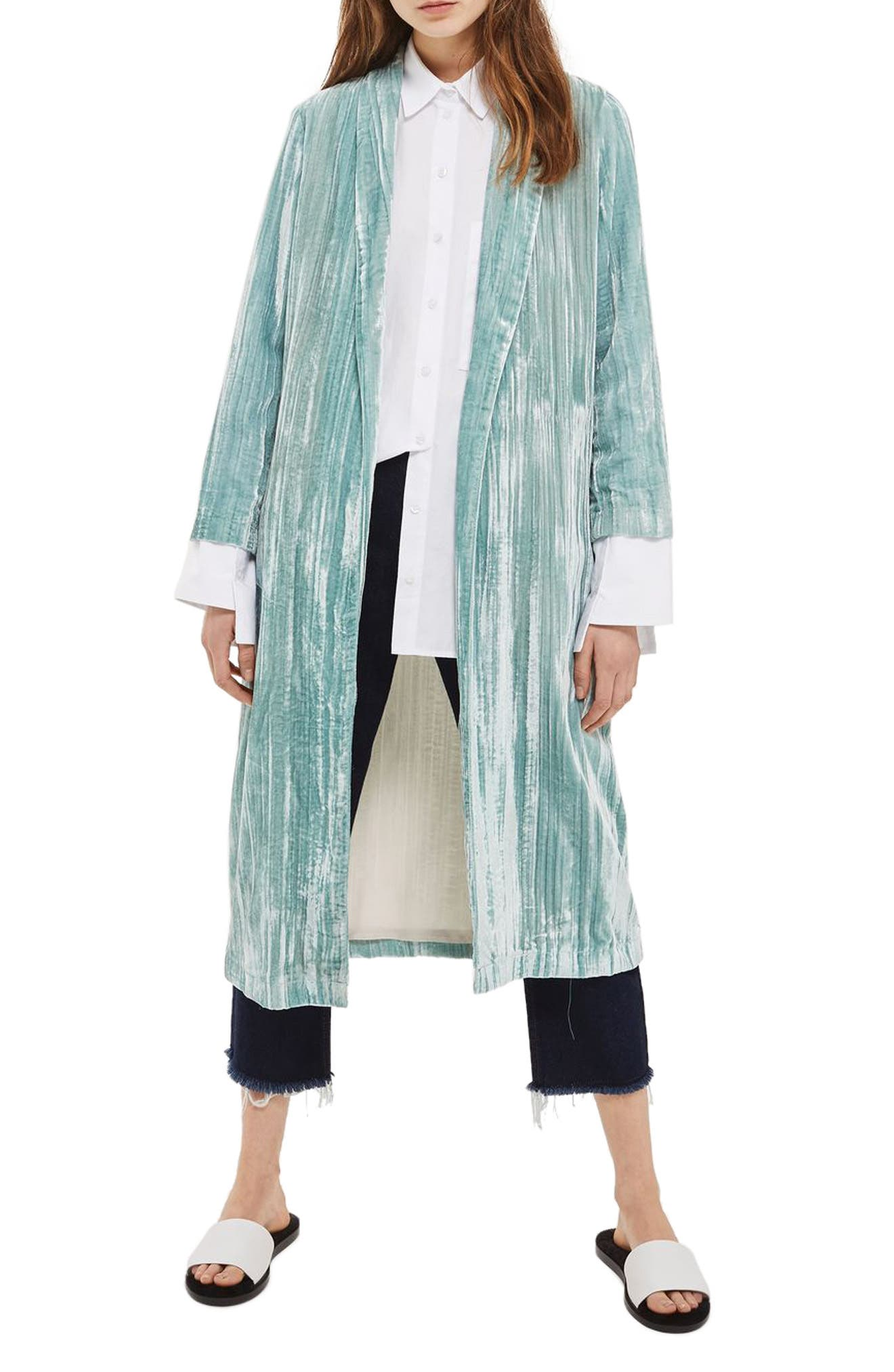 Alternate Image 1 Selected - Topshop Velvet Duster Coat