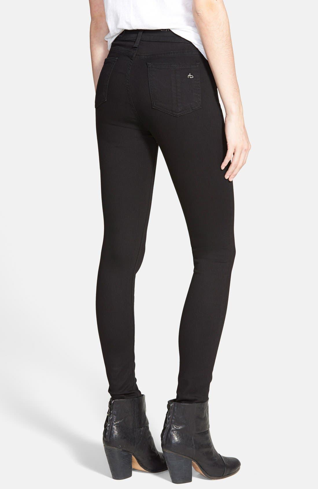 Alternate Image 2  - rag & bone/JEAN High Waist Leggings (Black)