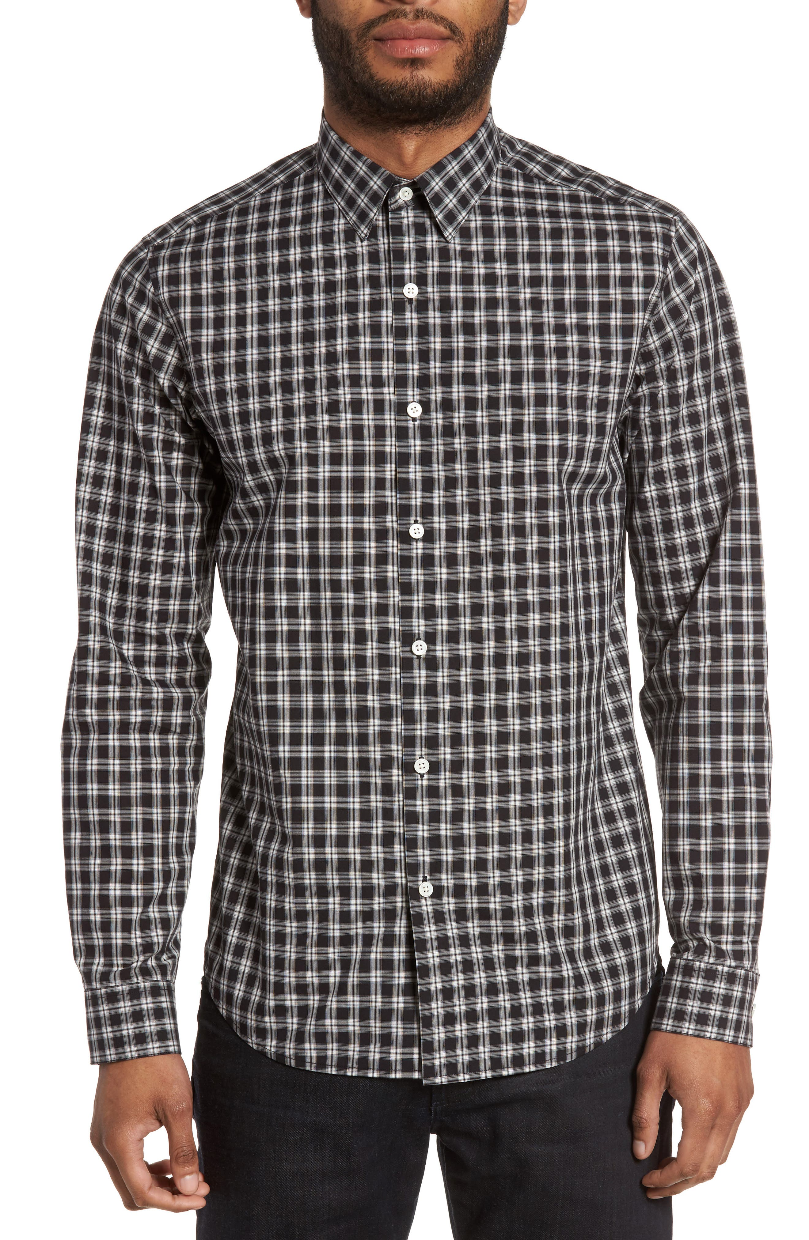 Theory Sylvain Trim Fit Check Sport Shirt