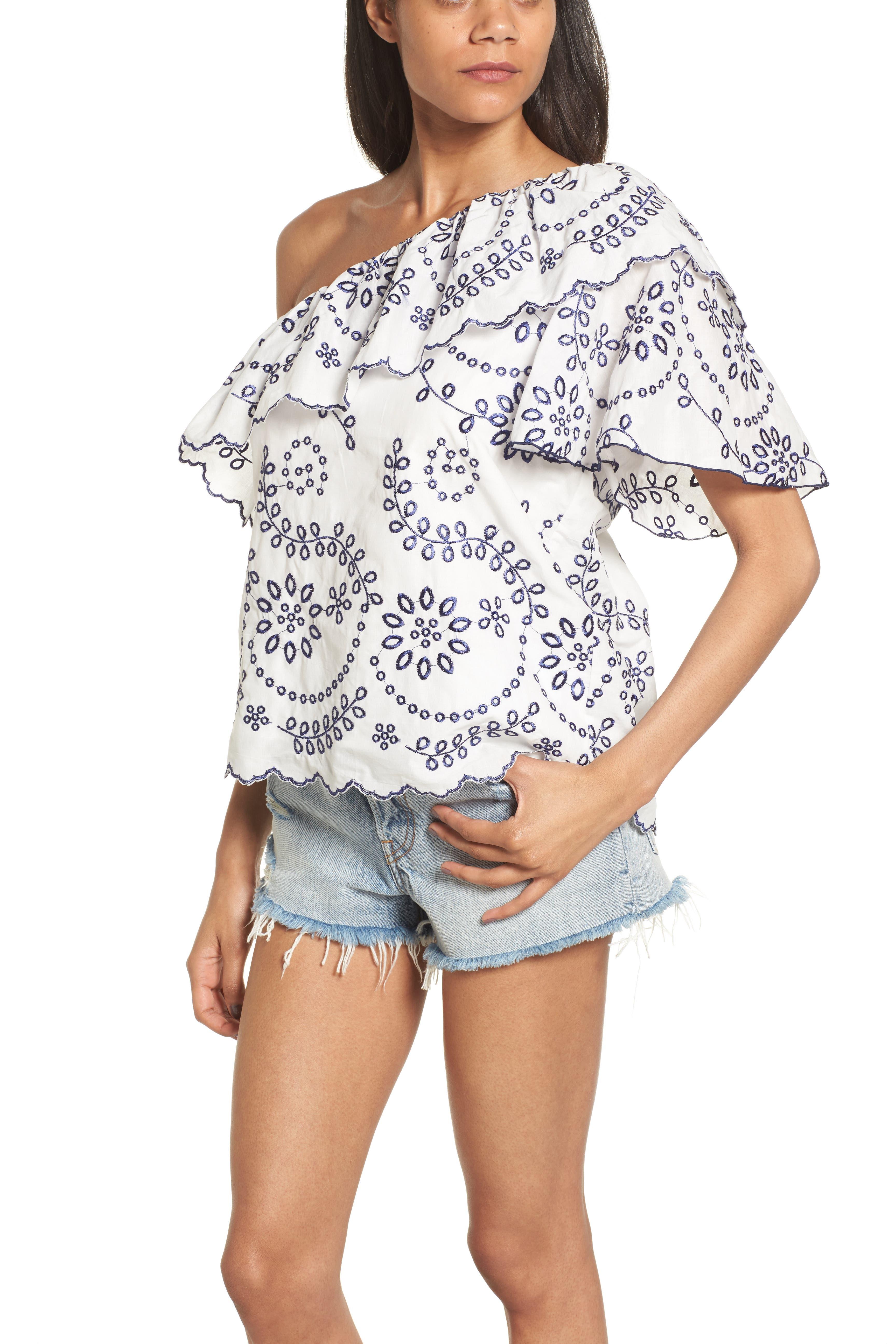 devlin Judith Embroidered Cotton One-Shoulder Top