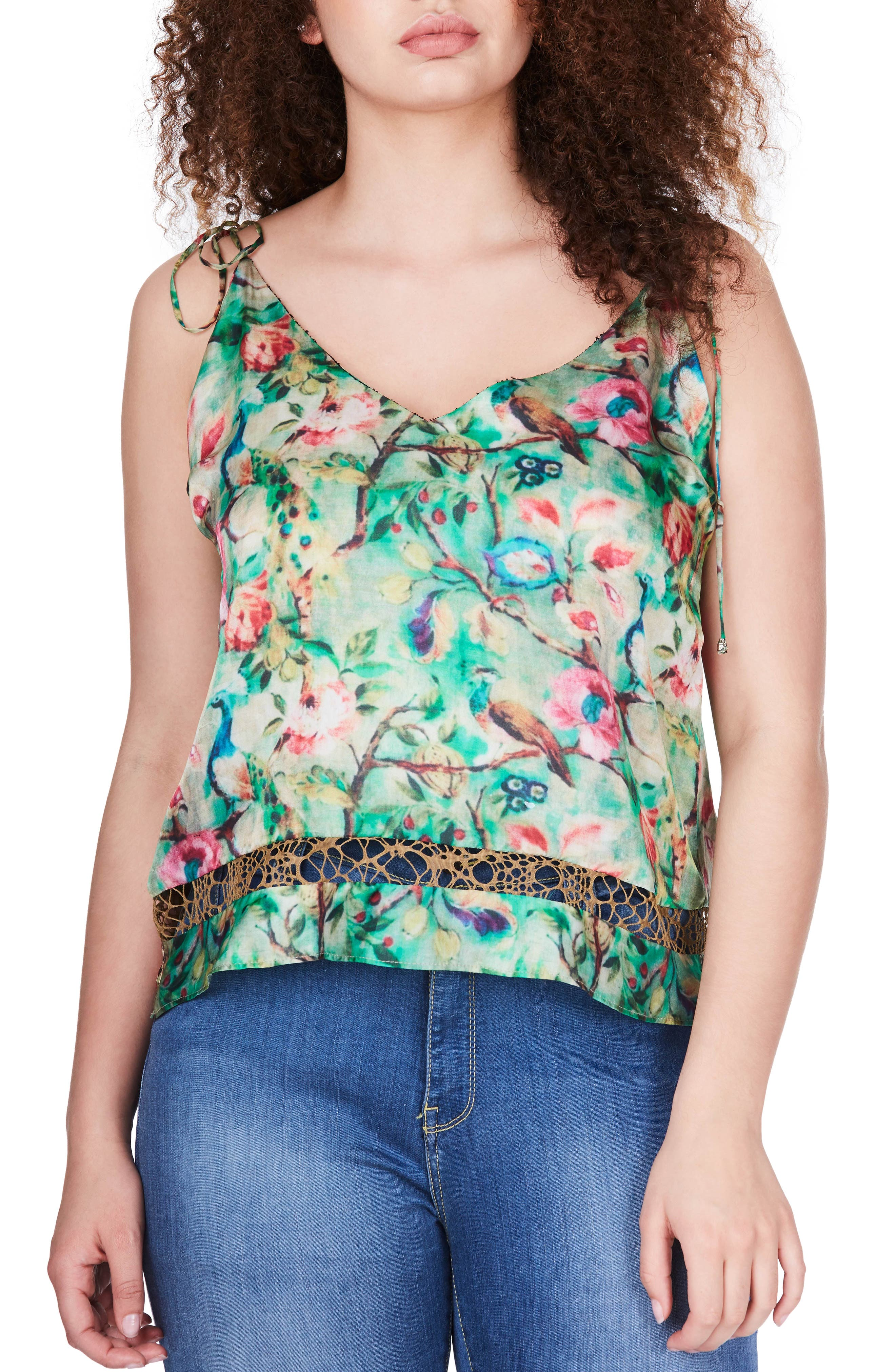 ELVI Floral Print Camisole (Plus Size)
