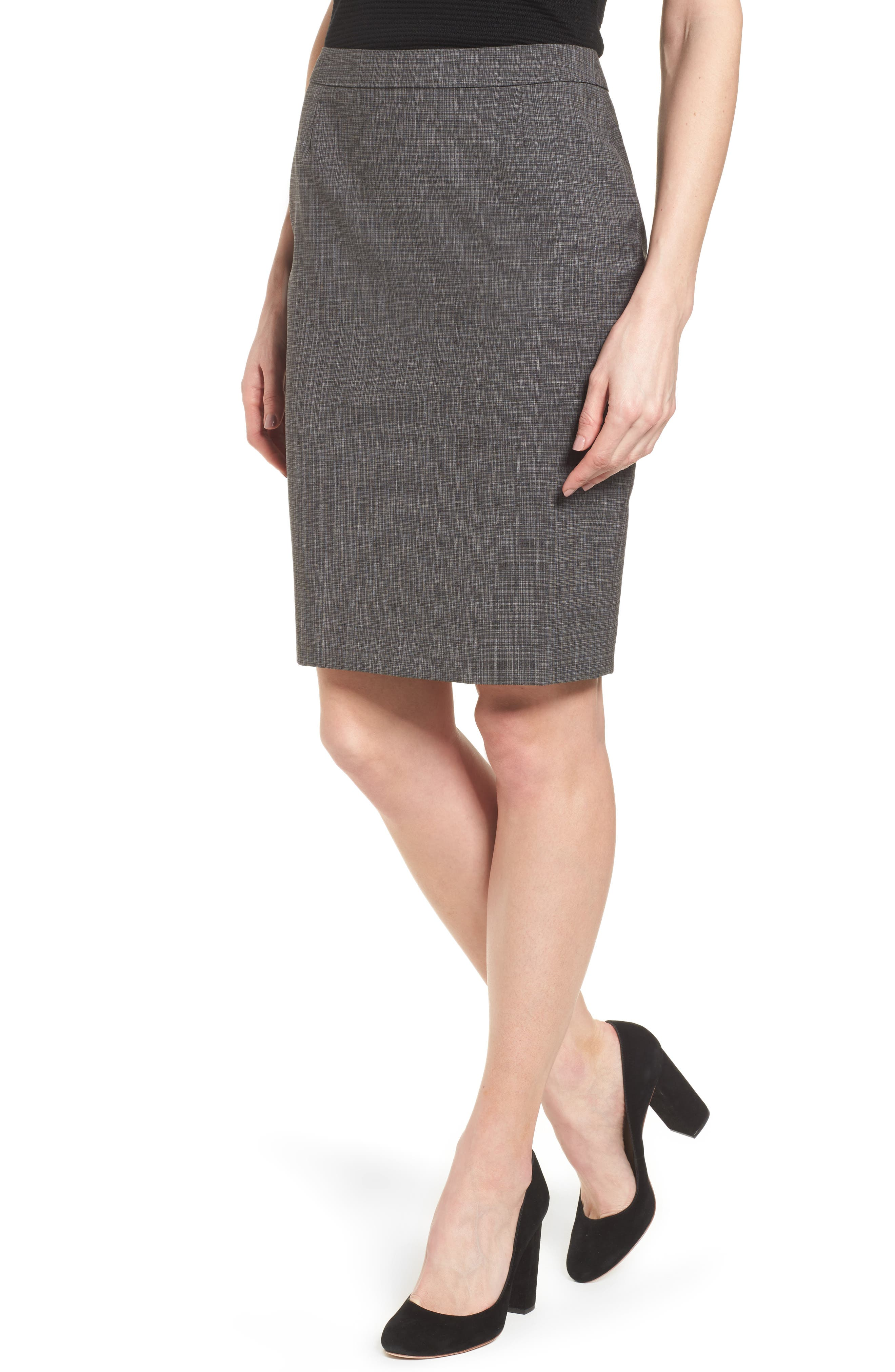 BOSS Vilea Plaid Stretch Wool Suit Skirt