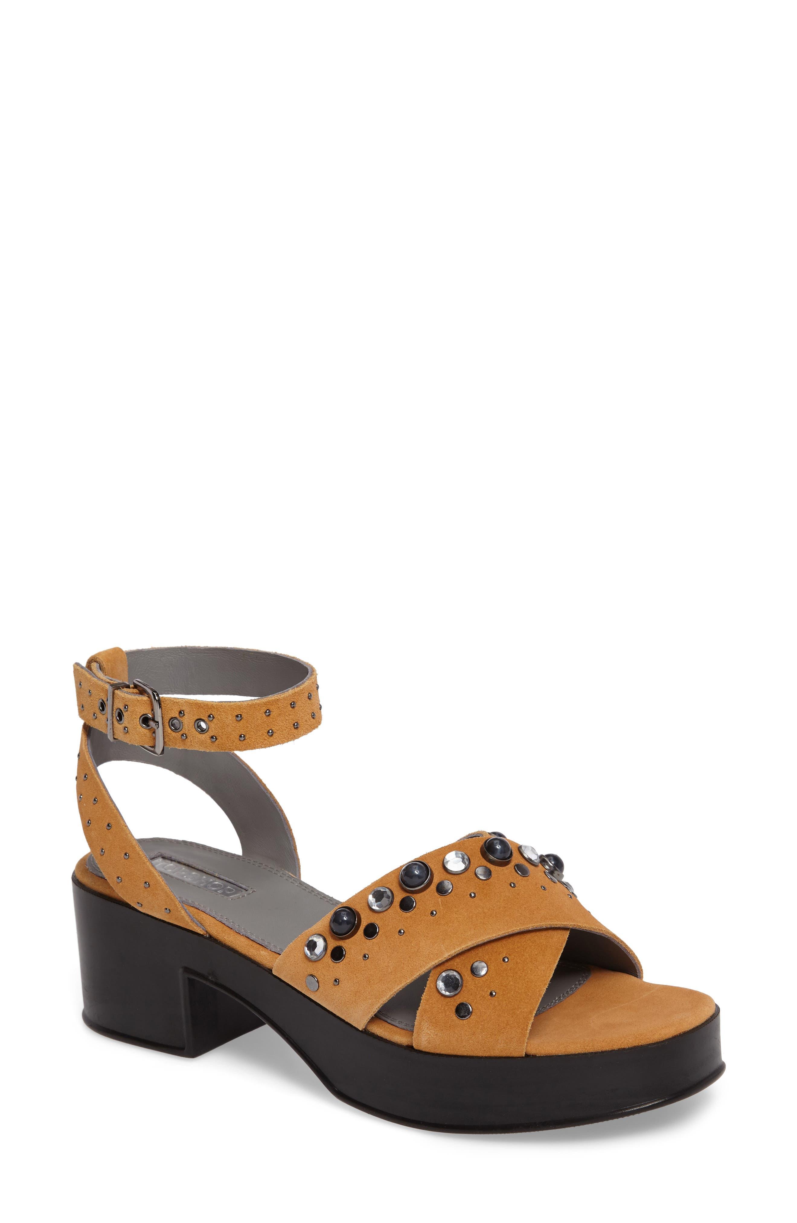 Topshop Vanity Embellished Platform Sandal (Women)