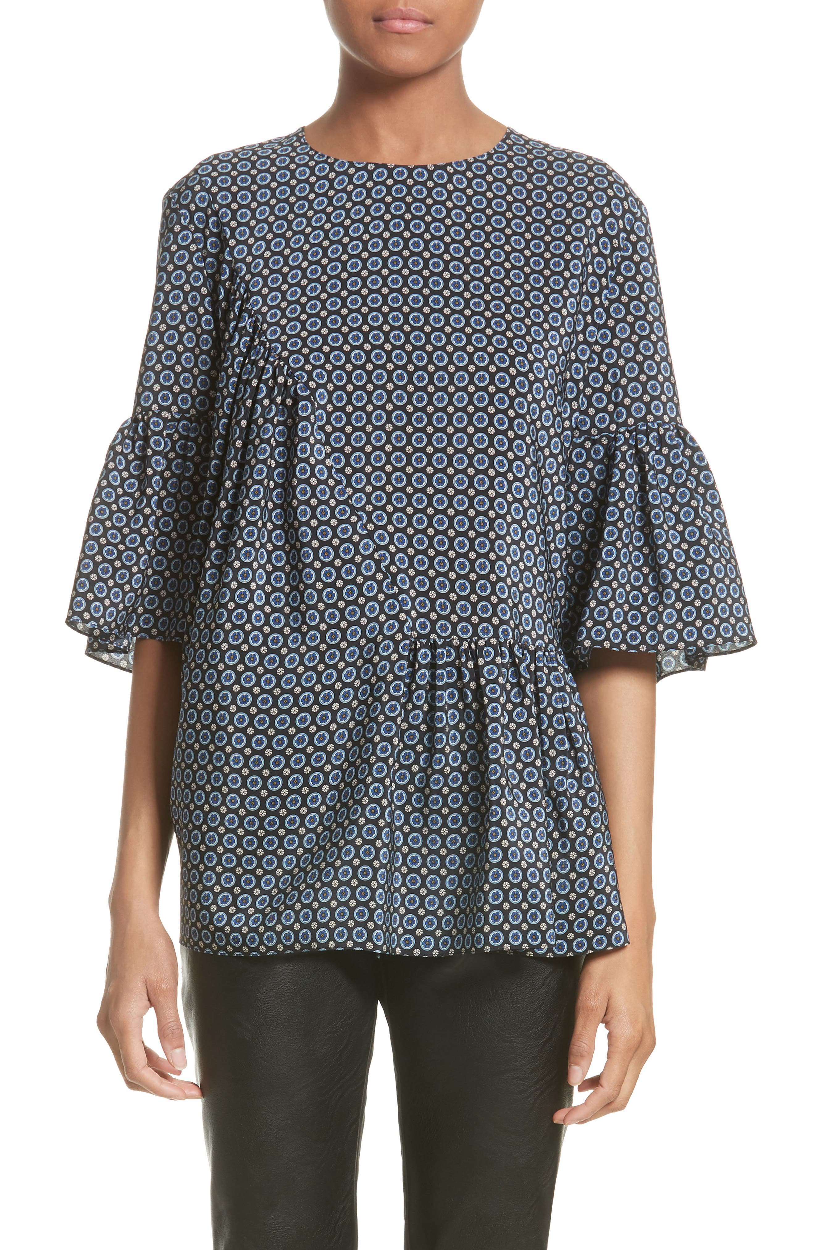 Stella McCartney Windsor Print Silk Ruffle Blouse