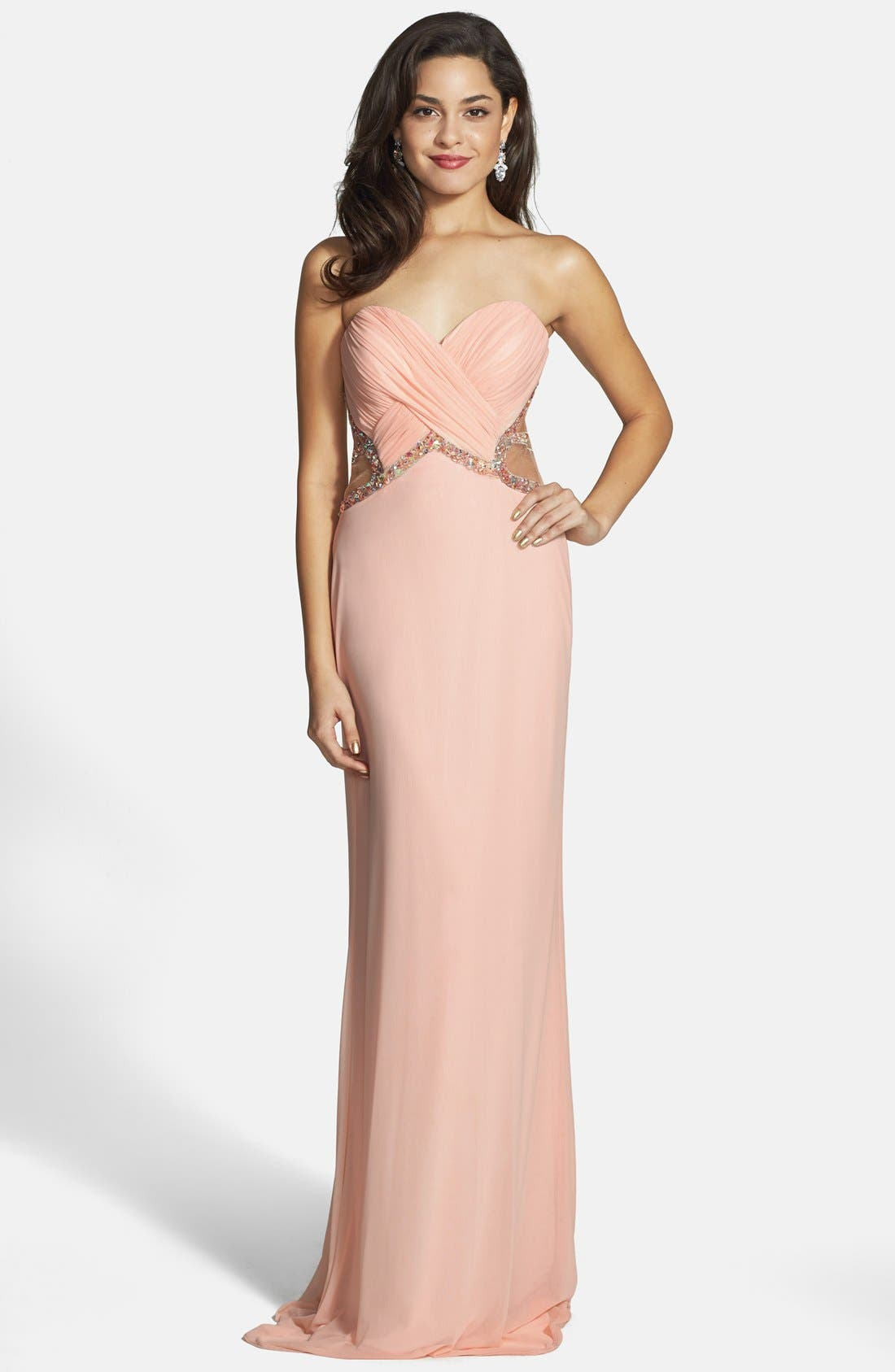 Alternate Image 1 Selected - Faviana Embellished Mesh Gown