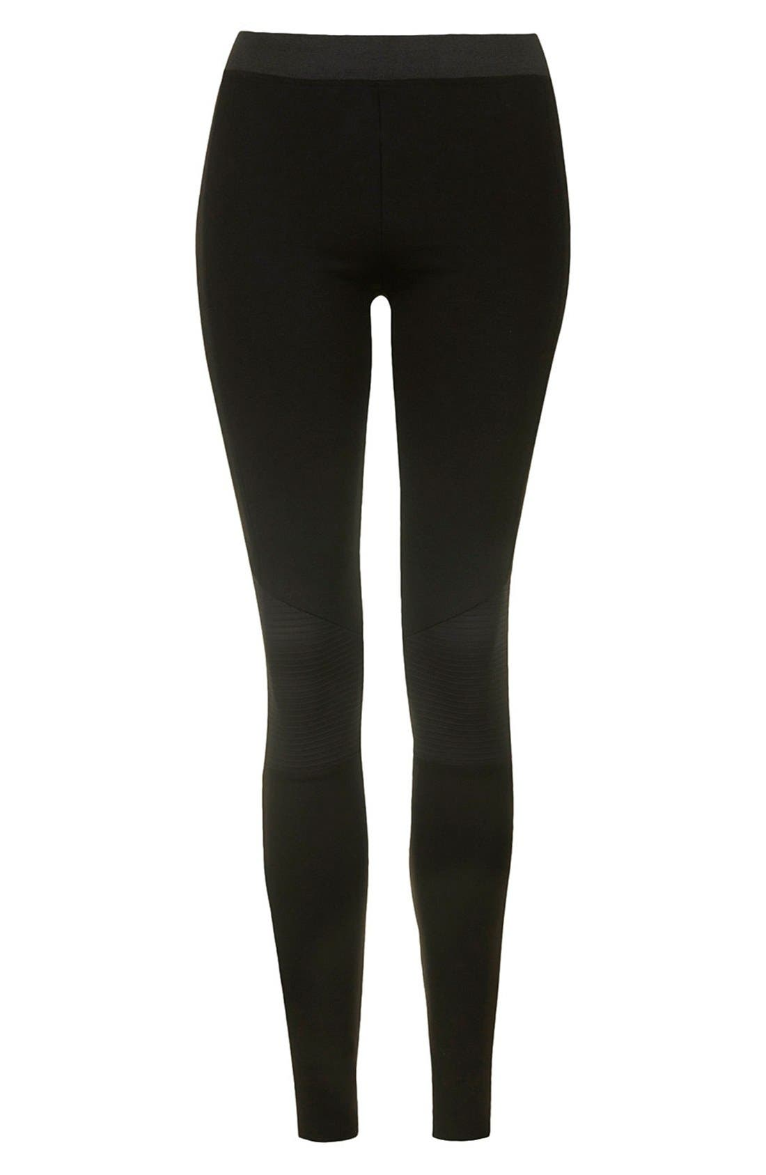 Alternate Image 3  - Topshop Biker Knee Ponte Leggings