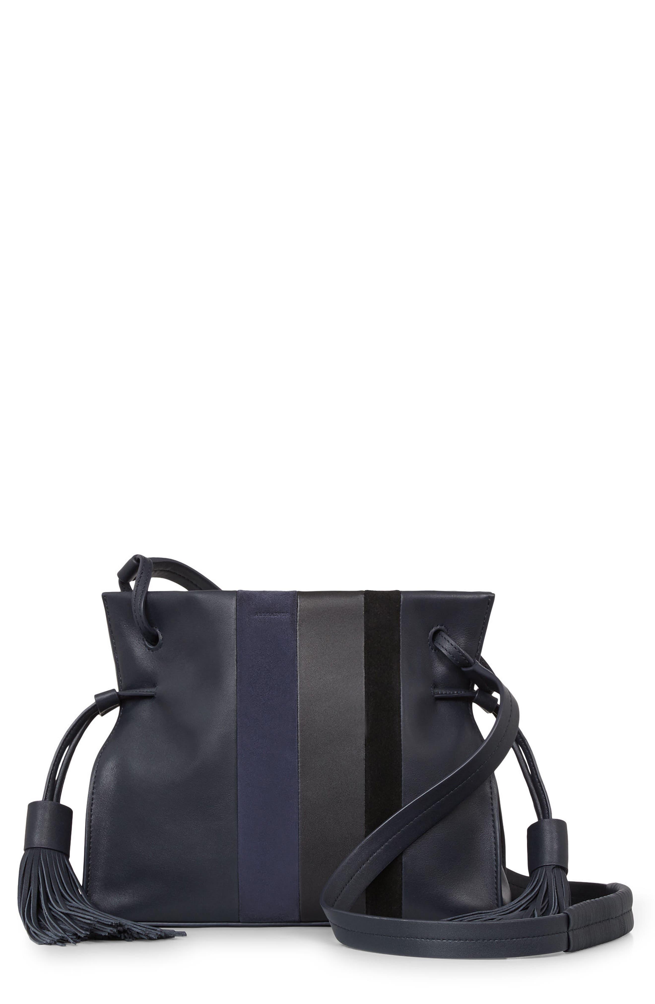 ALLSAINTS Casey Calfskin Leather & Suede Tassel Crossbody Bag
