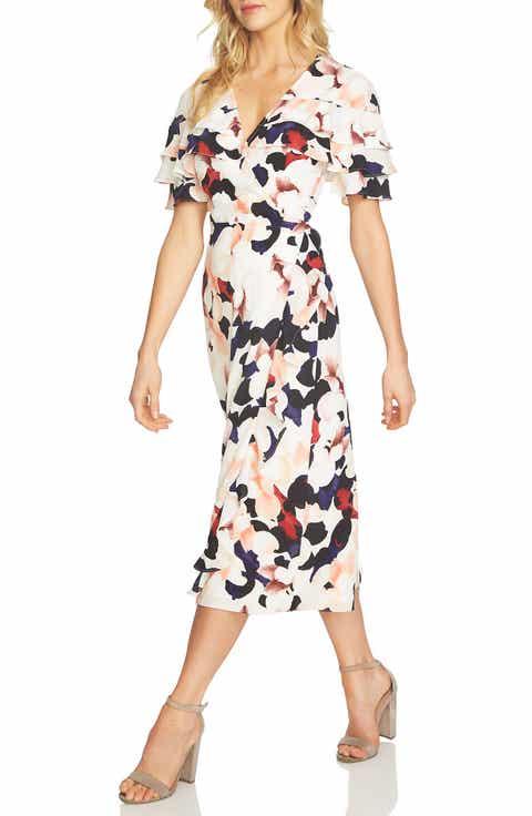 1.STATE Floral Wrap Midi Dress
