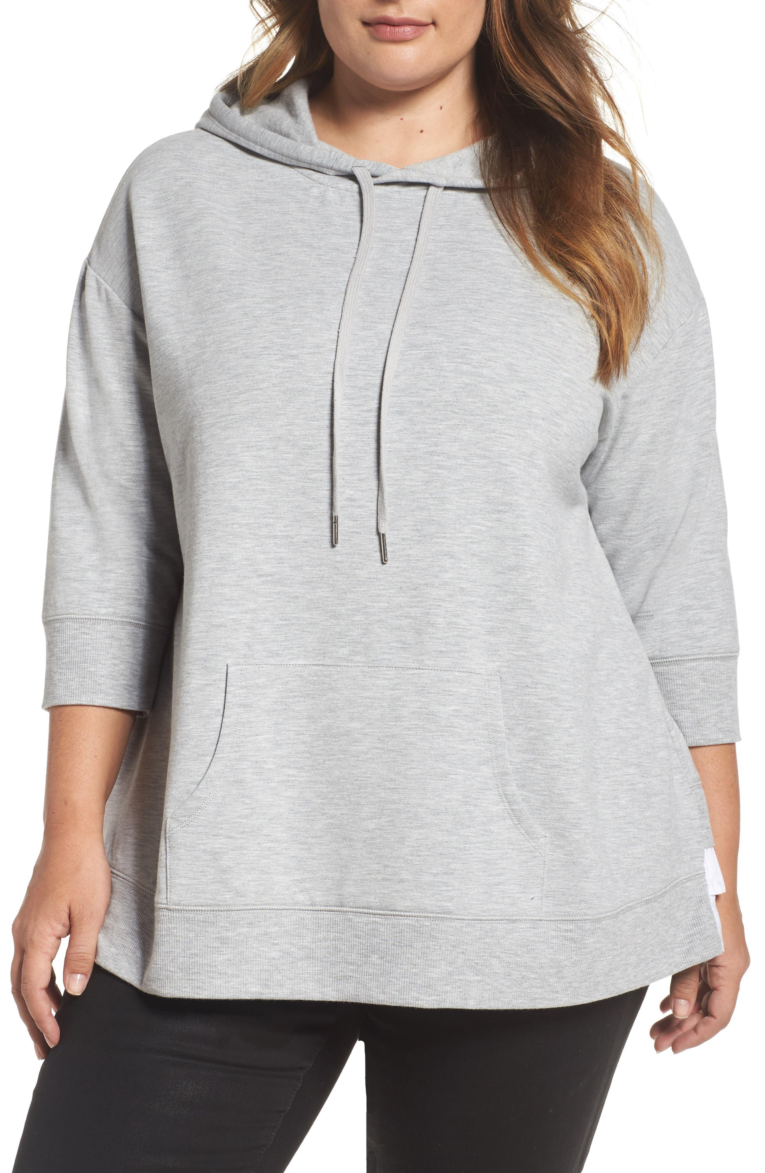 Caslon® Mixed Media Hoodie (Plus Size)