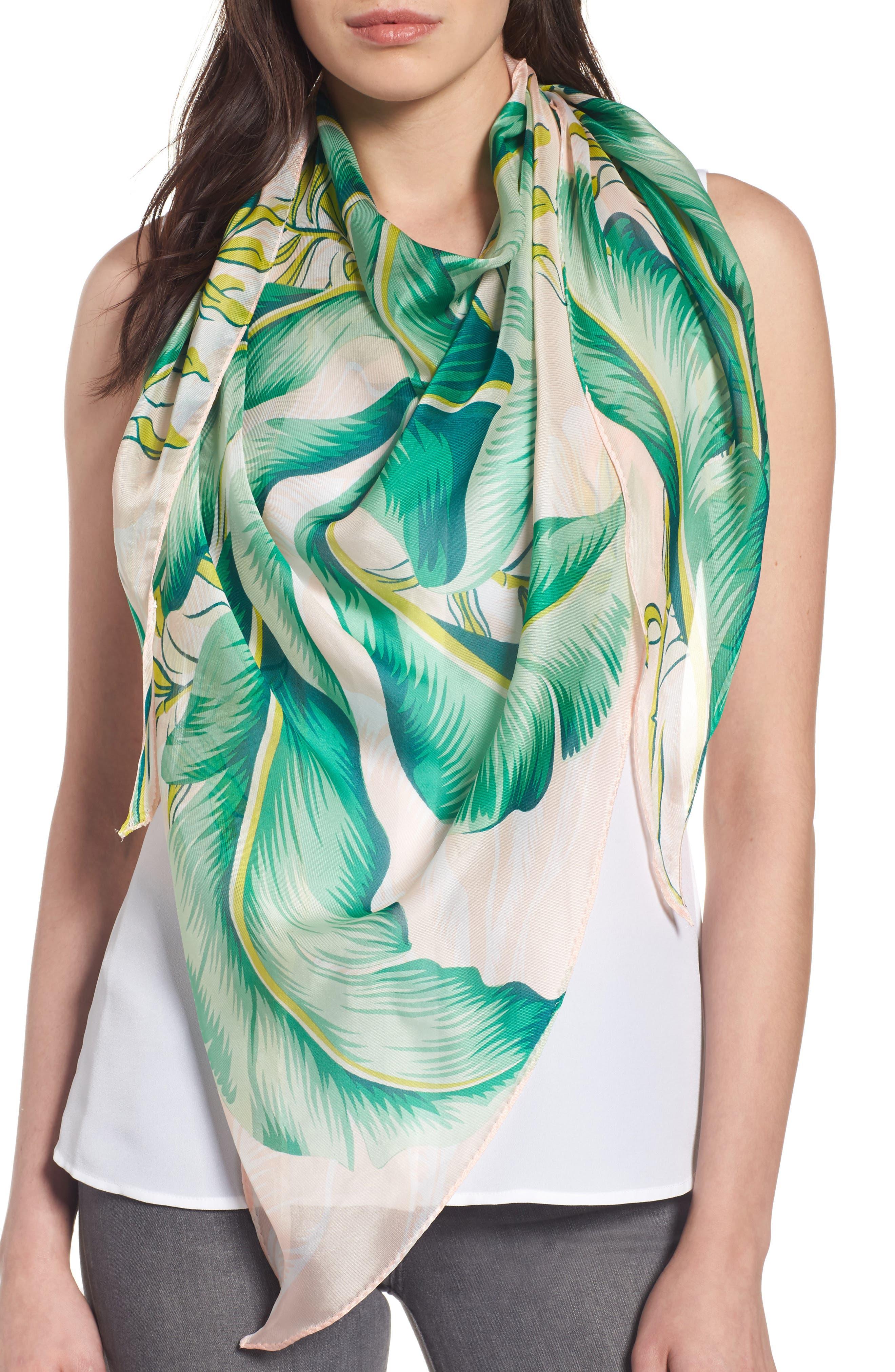 Echo Palm Print Silk Triangle Scarf