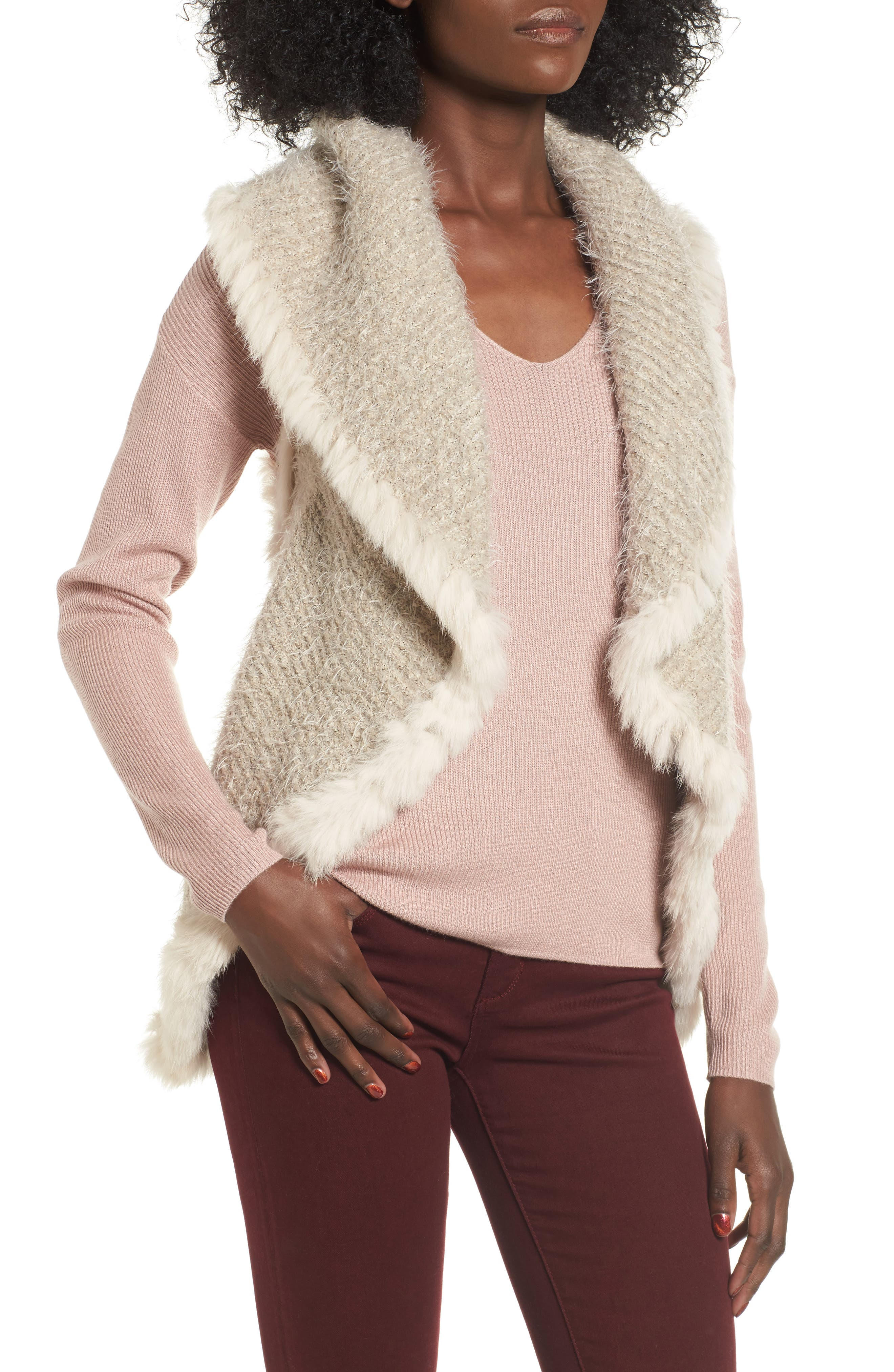 Love Token Knit Vest with Genuine Rabbit Fur Trim