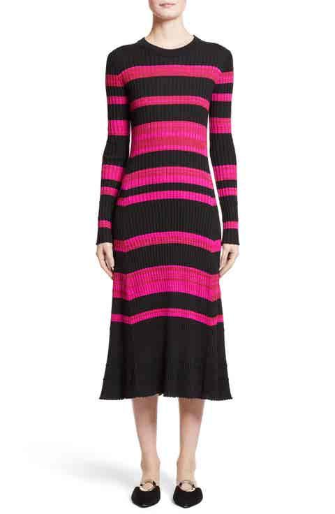 Proenza Schouler Stripe Cashmere, Wool   Silk Midi Dress