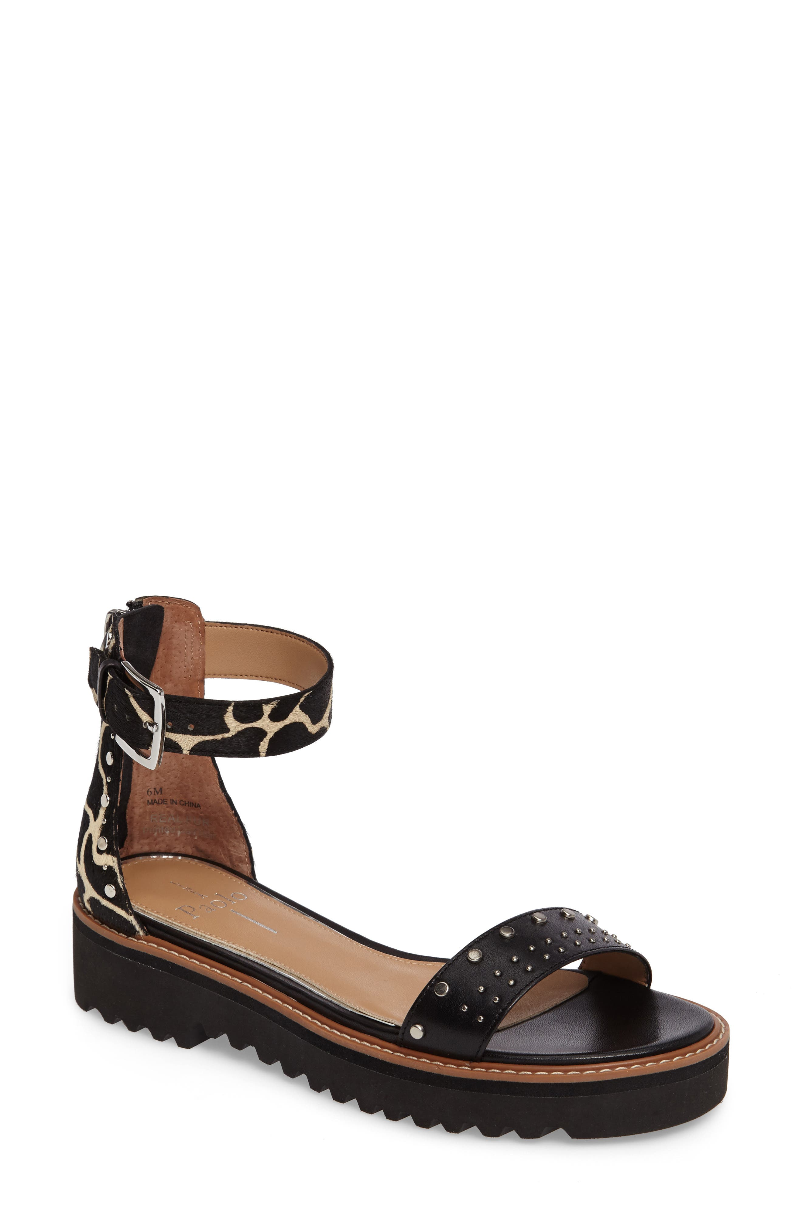 Linea Paolo Ricky Genuine Calf Hair Ankle Strap Sandal (Women)