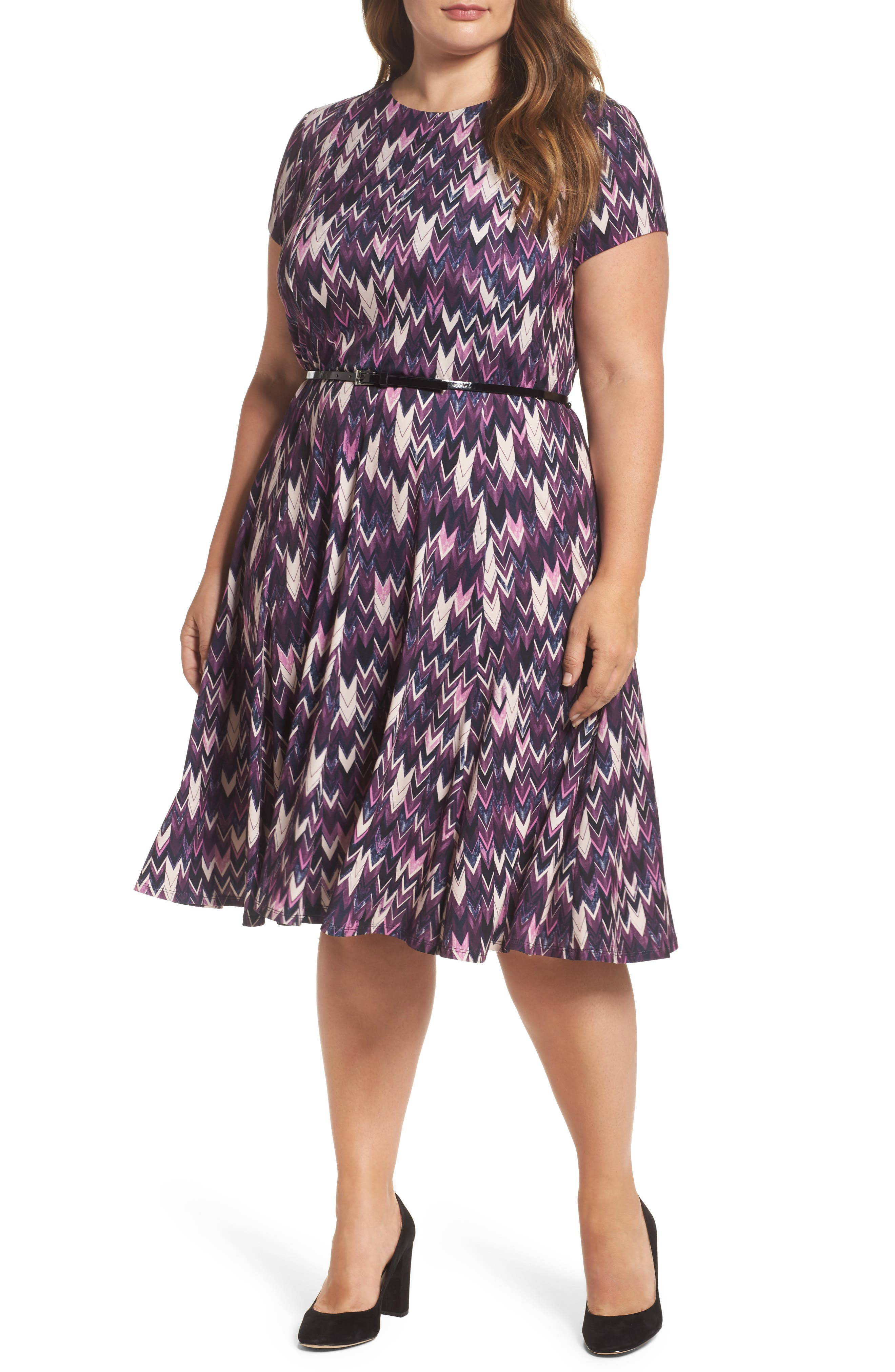 Eliza J Belted Print Fit & Flare Dress (Plus Size)