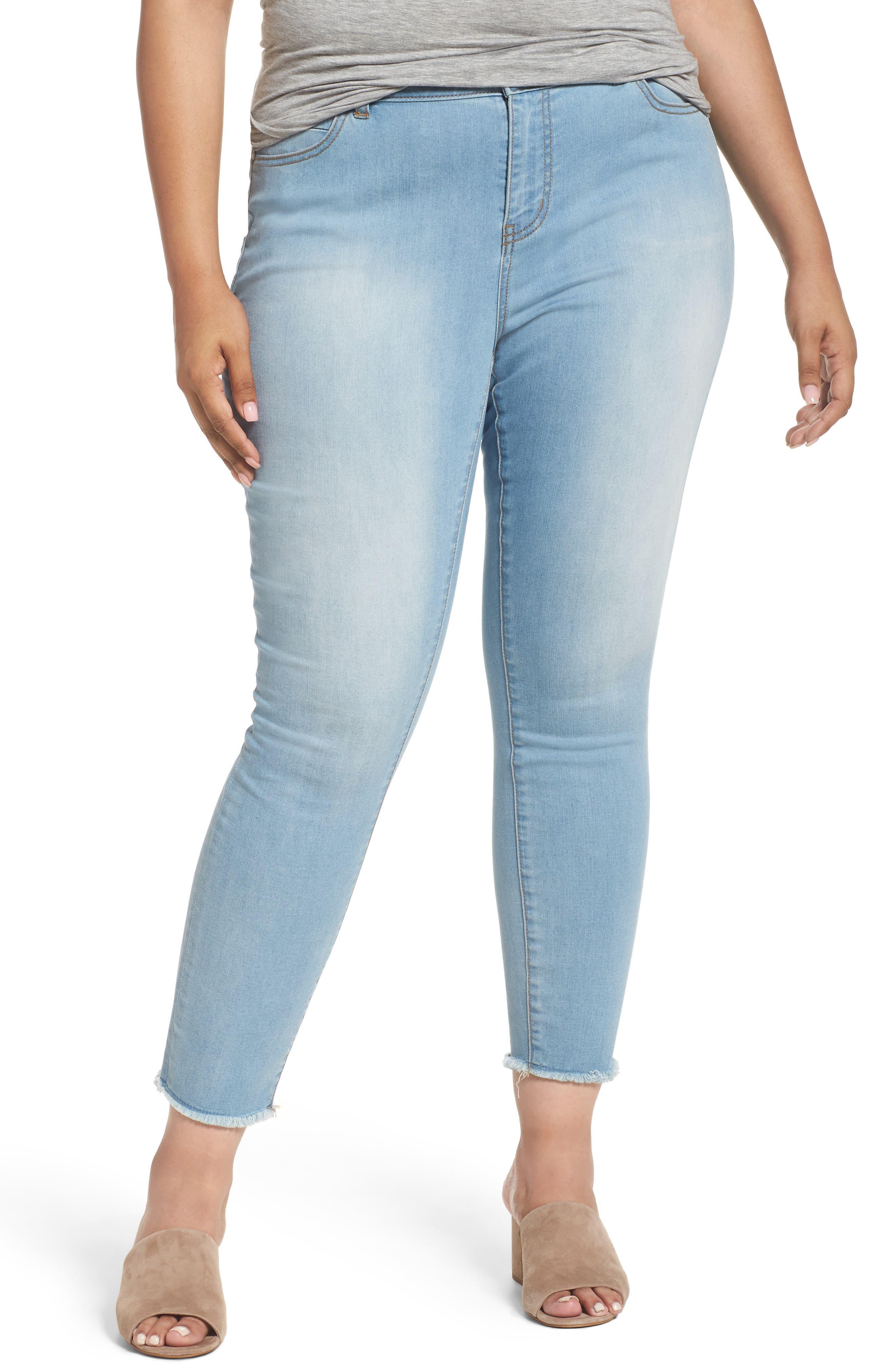 Caslon® Release Hem Stretch Skinny Ankle Jeans (Plus Size)