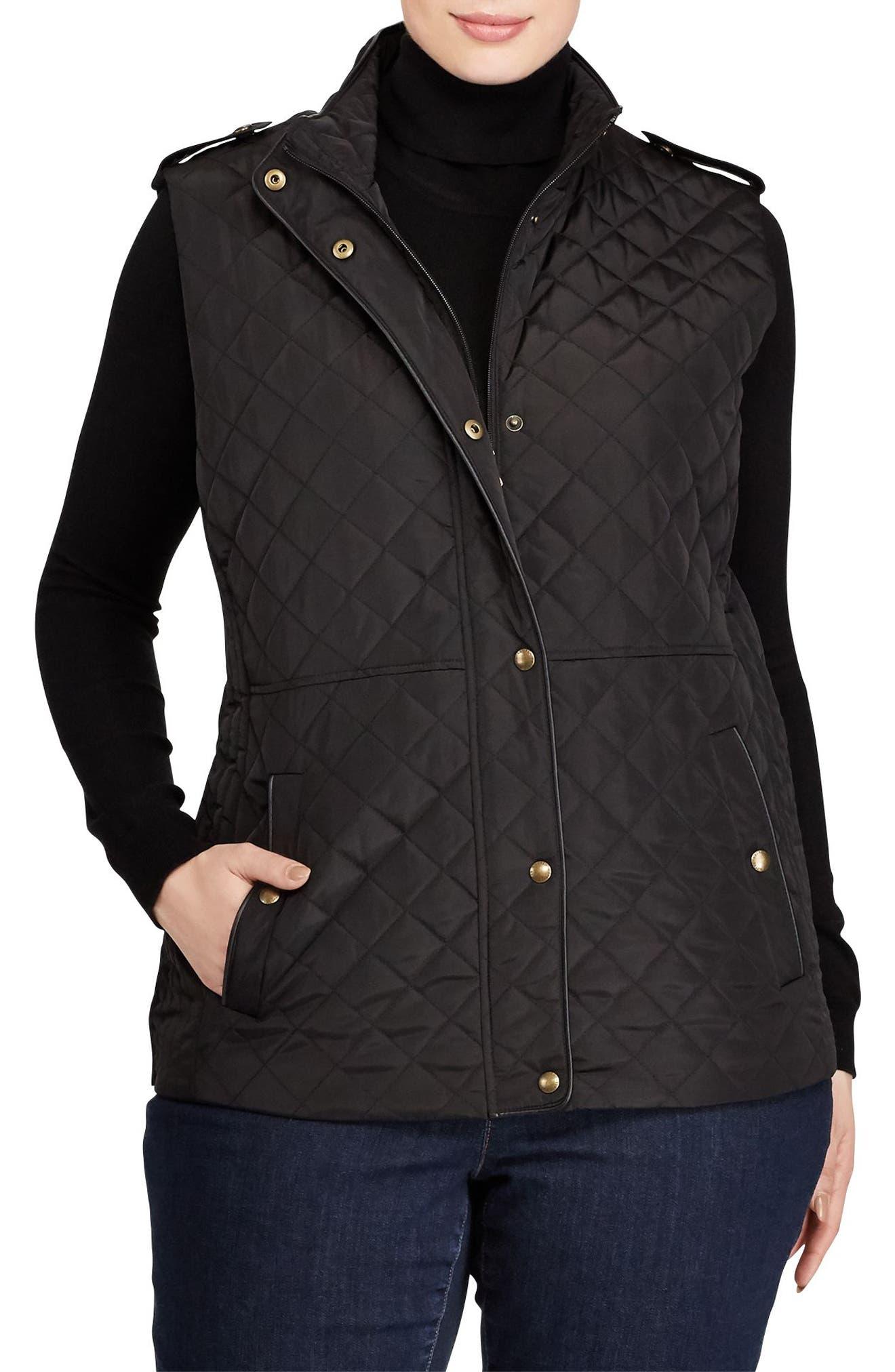 Lauren Ralph Lauren Faux Leather Trim Quilted Vest (Plus Size)
