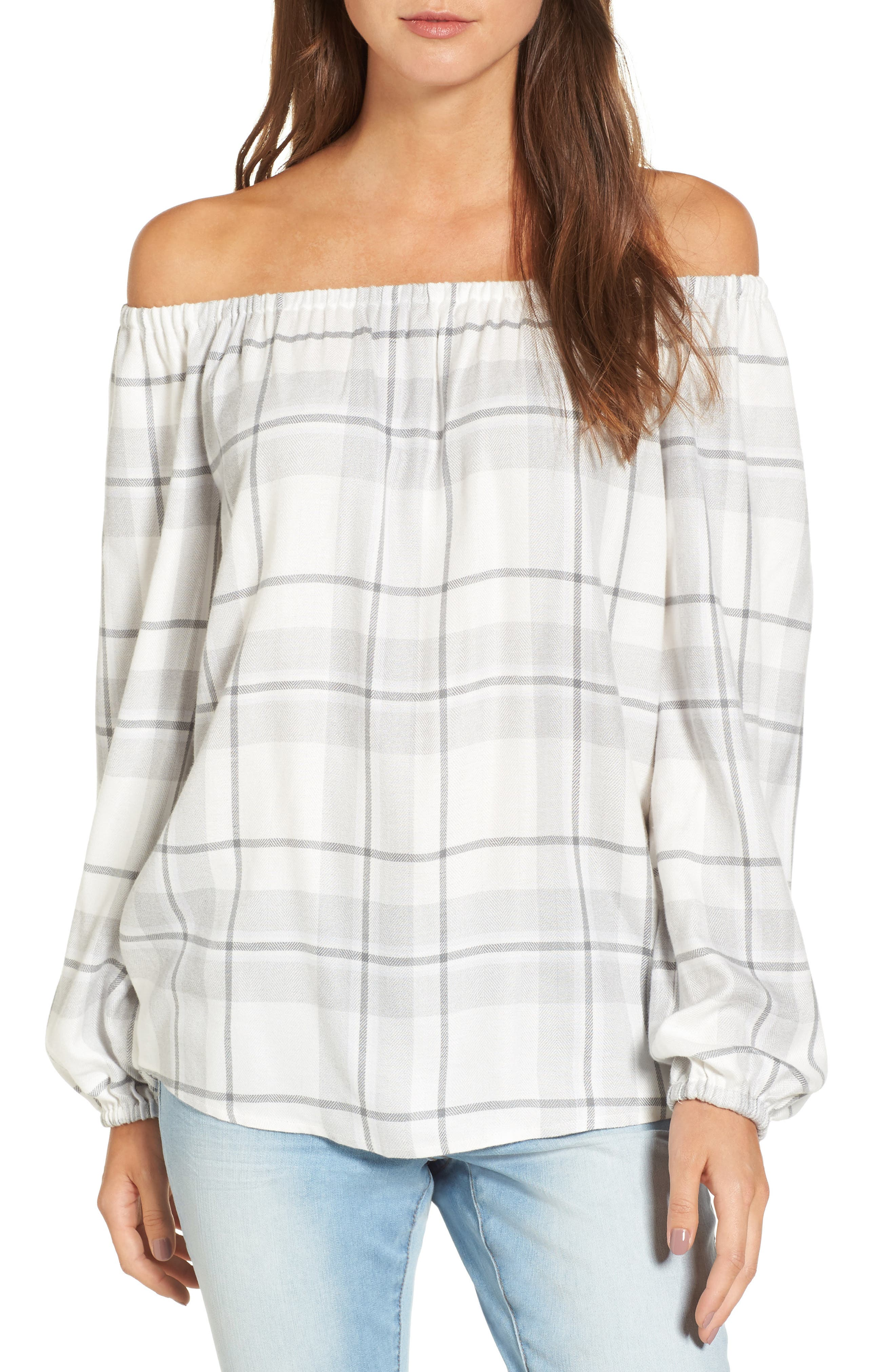 Alternate Image 1 Selected - Two by Vince Camuto Off the Shoulder Plaid Blouse (Regular & Petite)