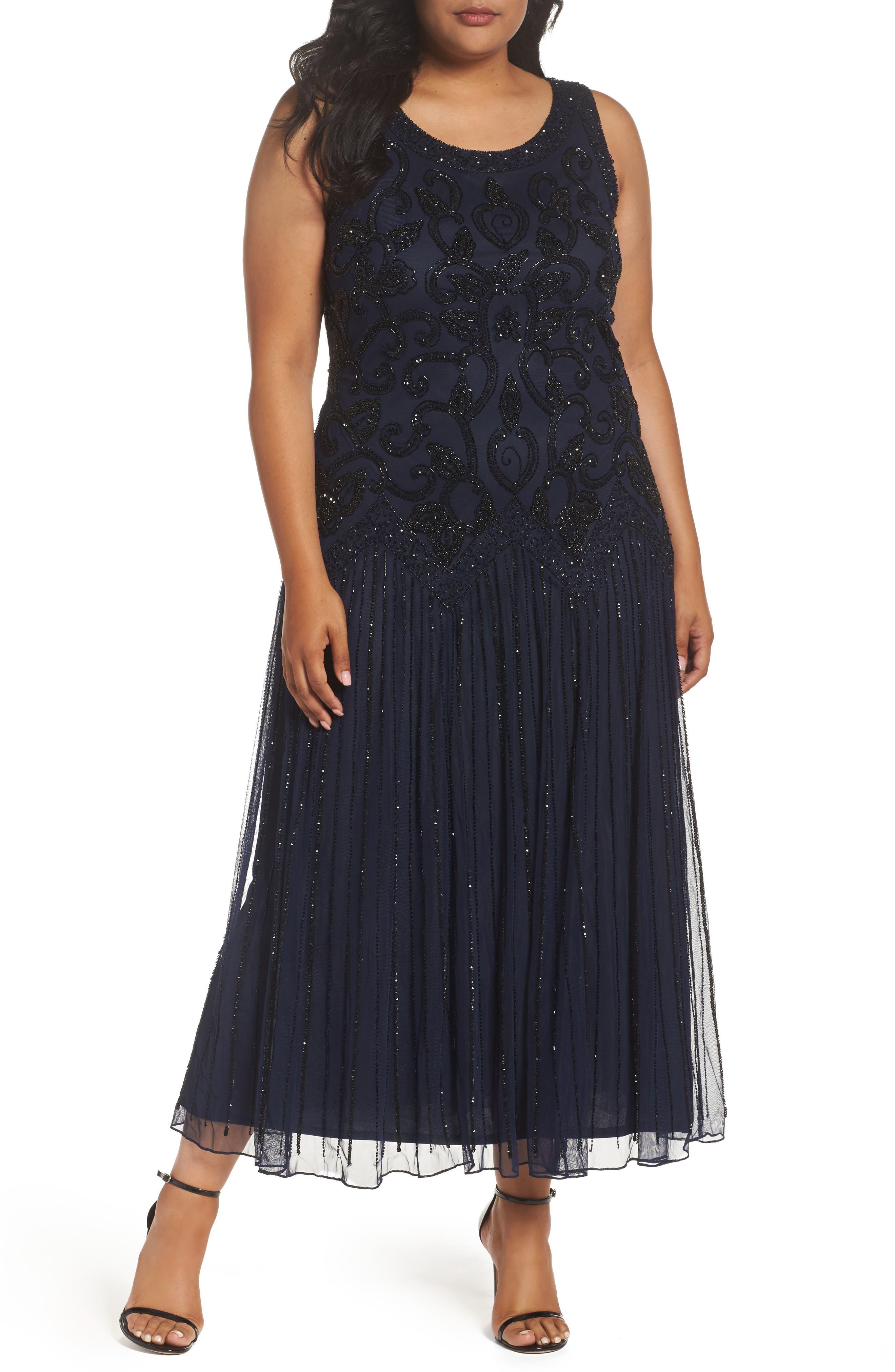 Pisarro Nights Embellished Mesh Dress (Plus Size)