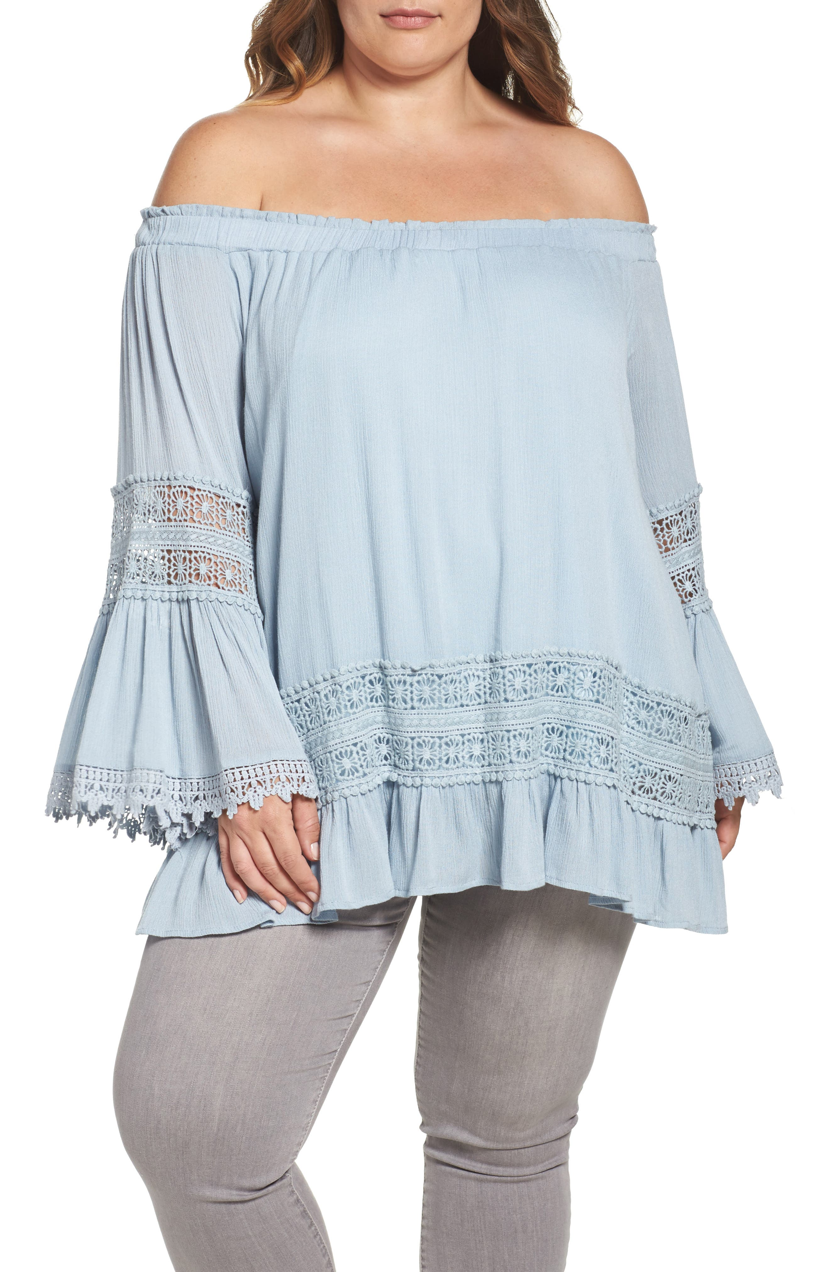 Lumie Crochet Lace Off the Shoulder Top (Plus Size)