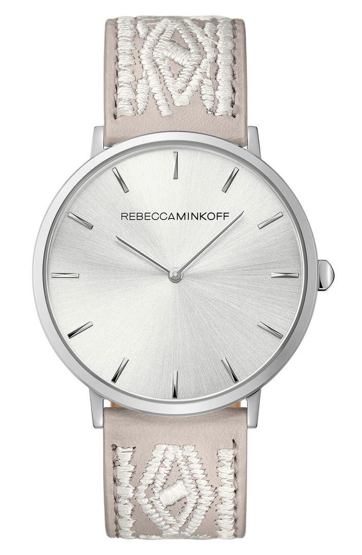 Rebecca minkoff leather strap watch 40mm nordstrom for Watches 40mm