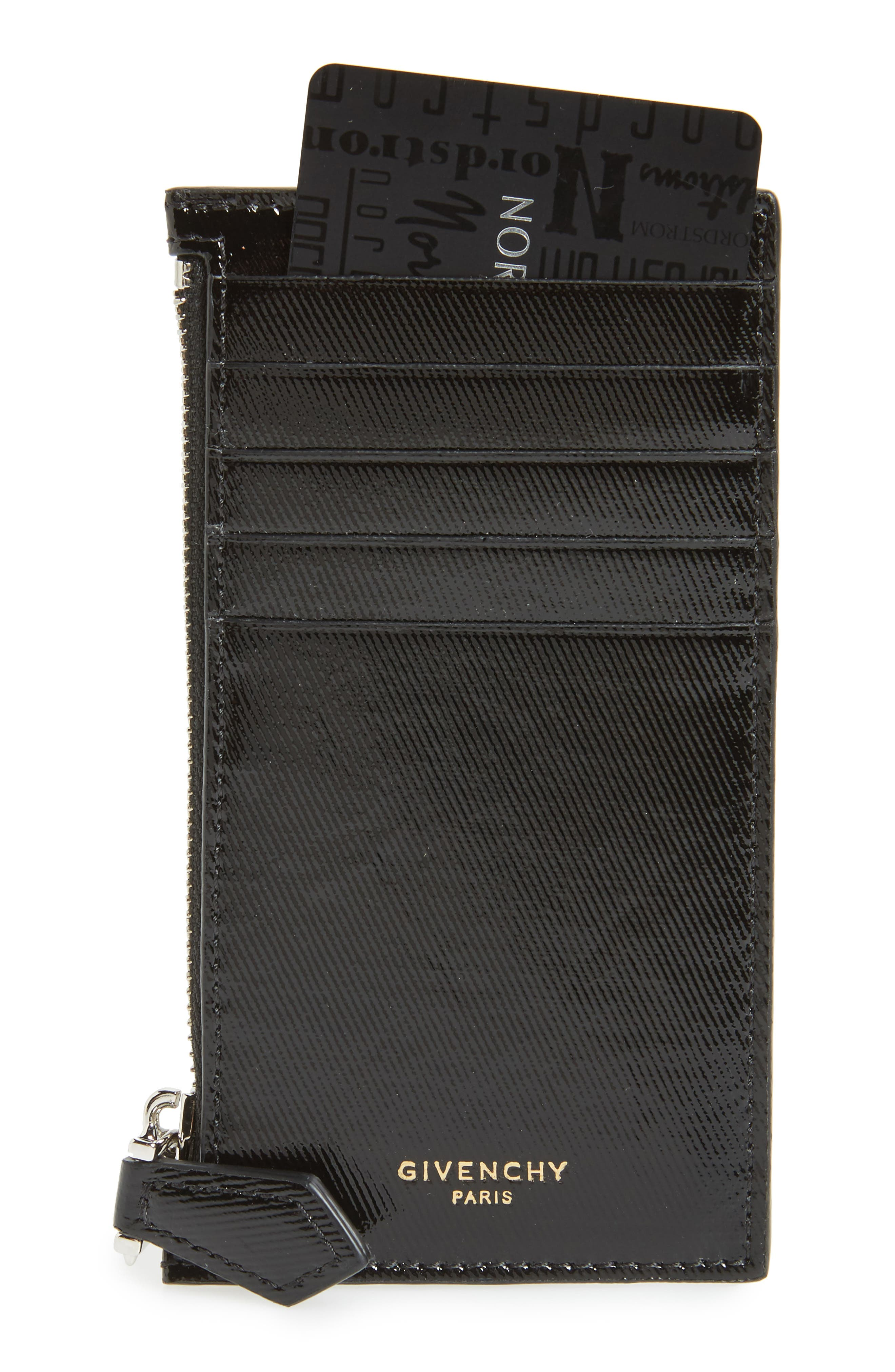 Givenchy Textured Leather Zip Card Case