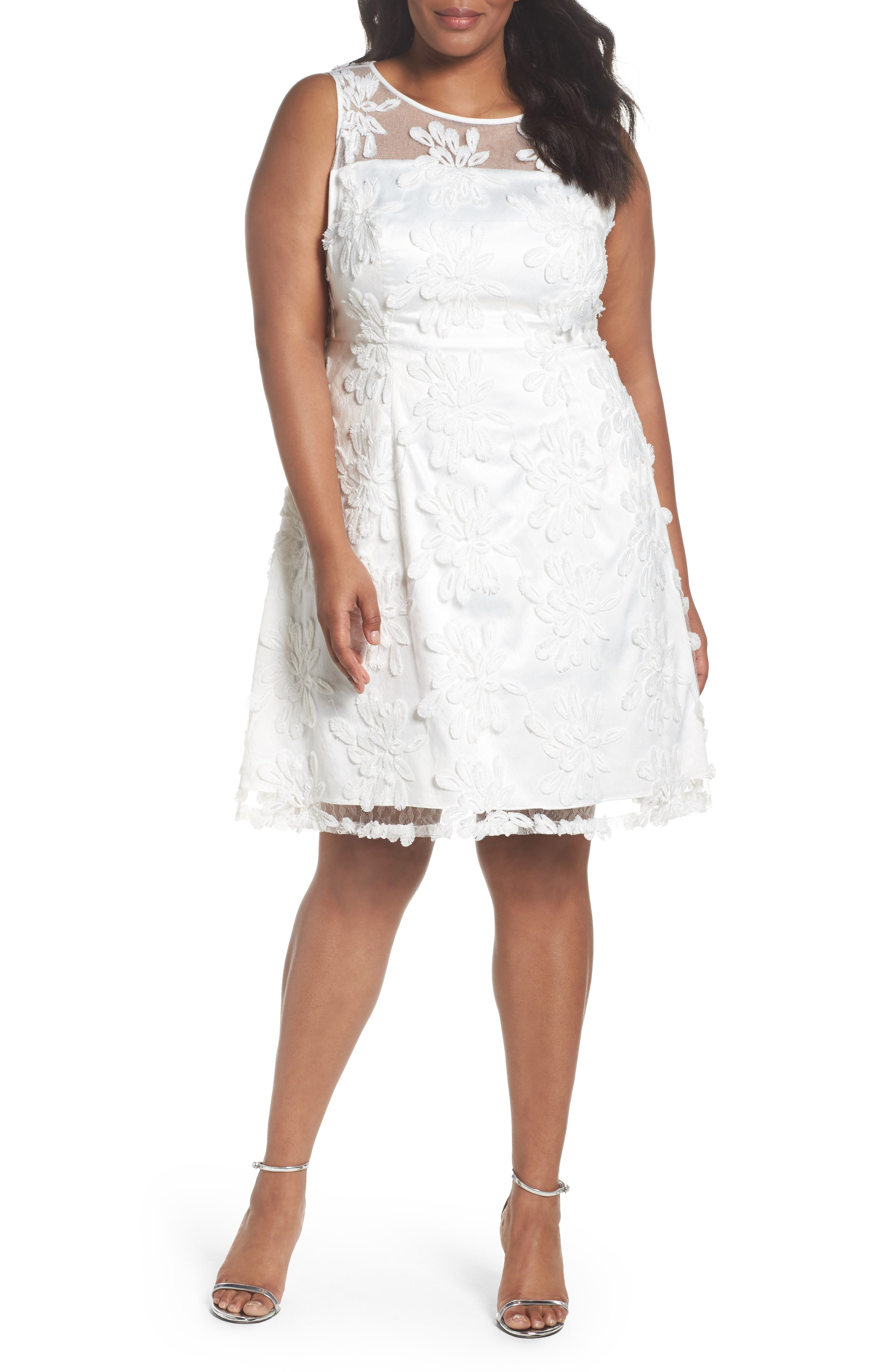 Adrianna Papell Zelda Fringe Lace Fit & Flare Dress (Plus Size)