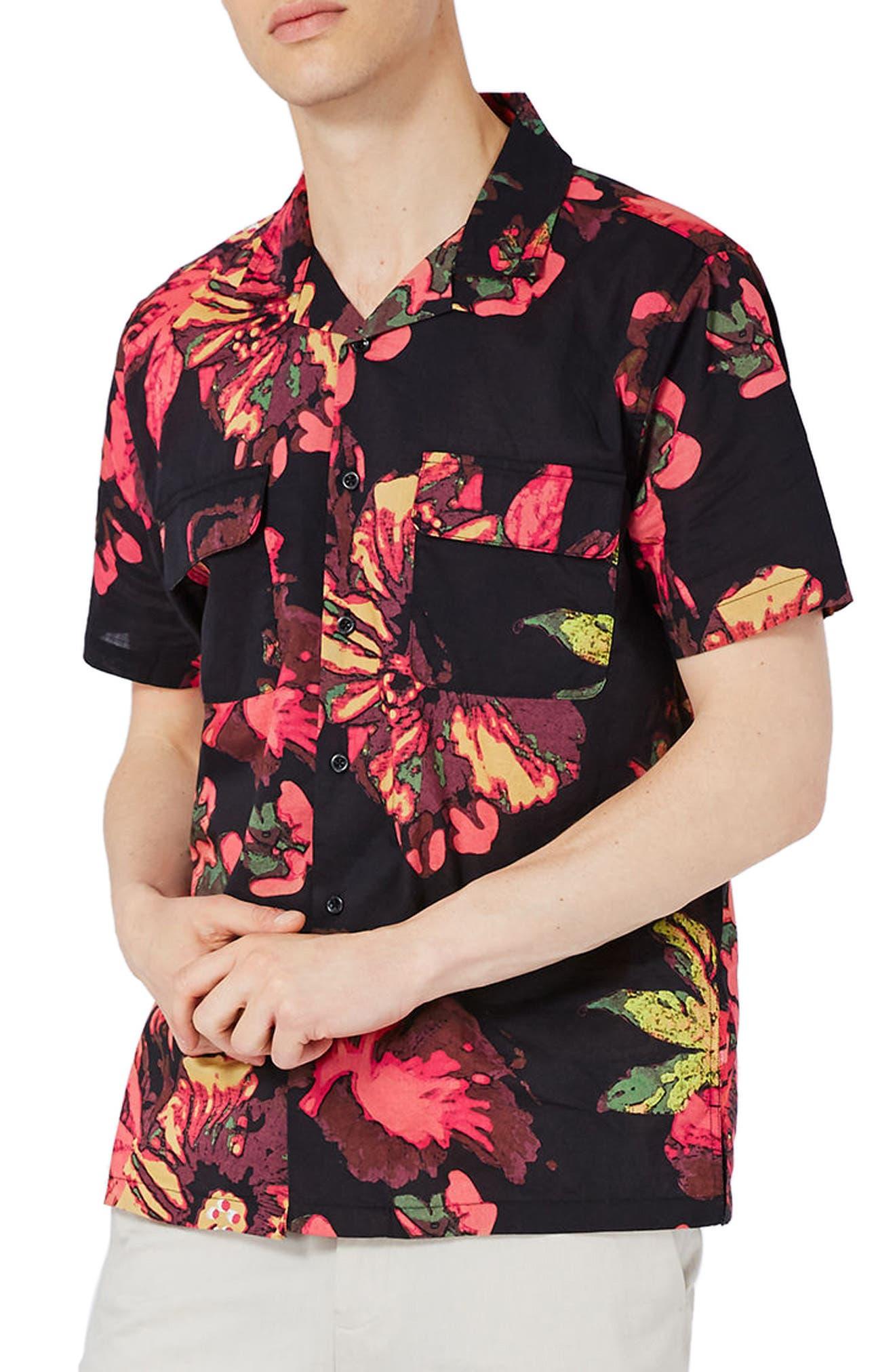 Topman Floral Print Revere Collar Shirt