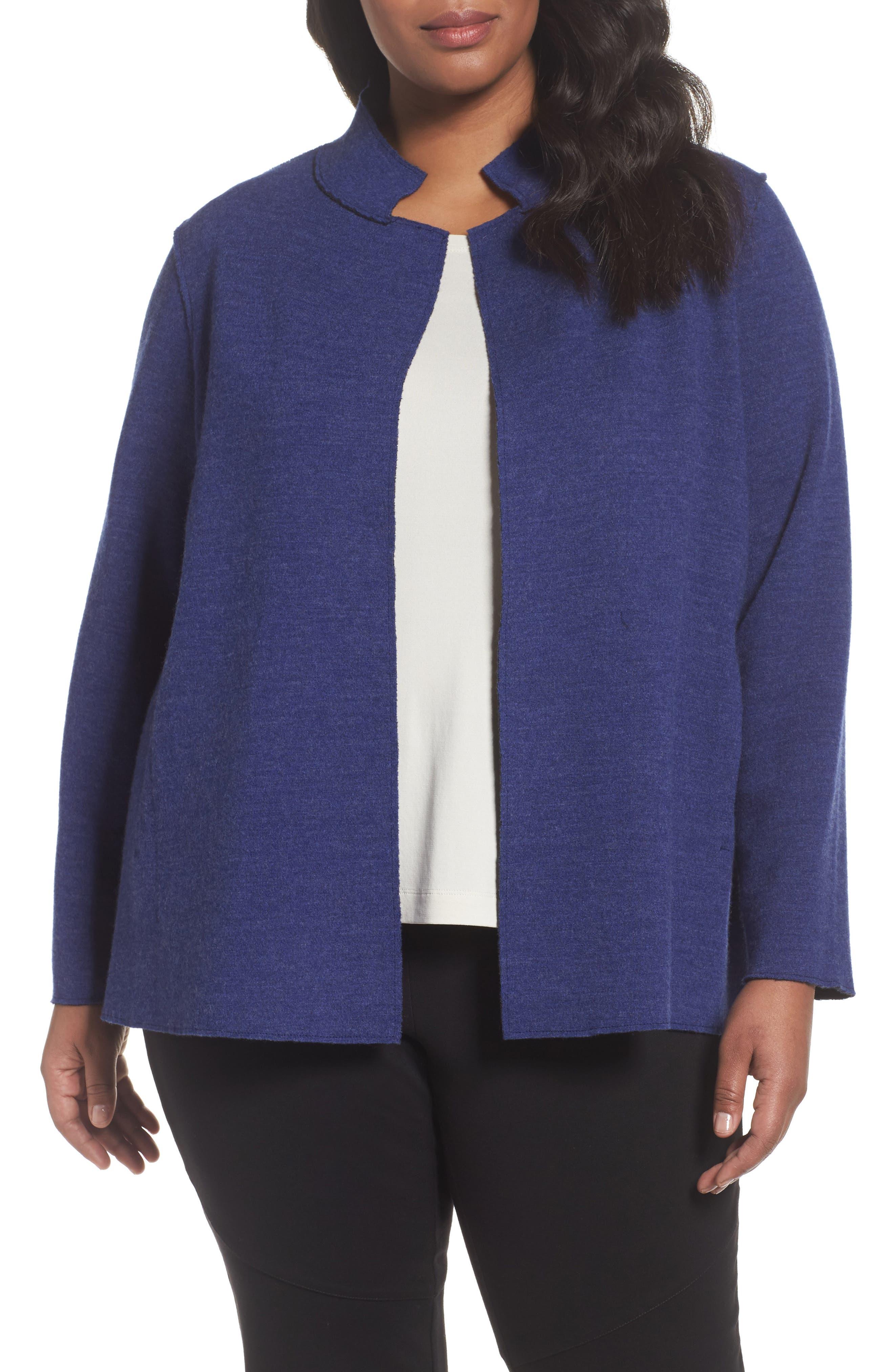 Eileen Fisher Wool Blend Mandarin Collar Jacket (Plus Size)
