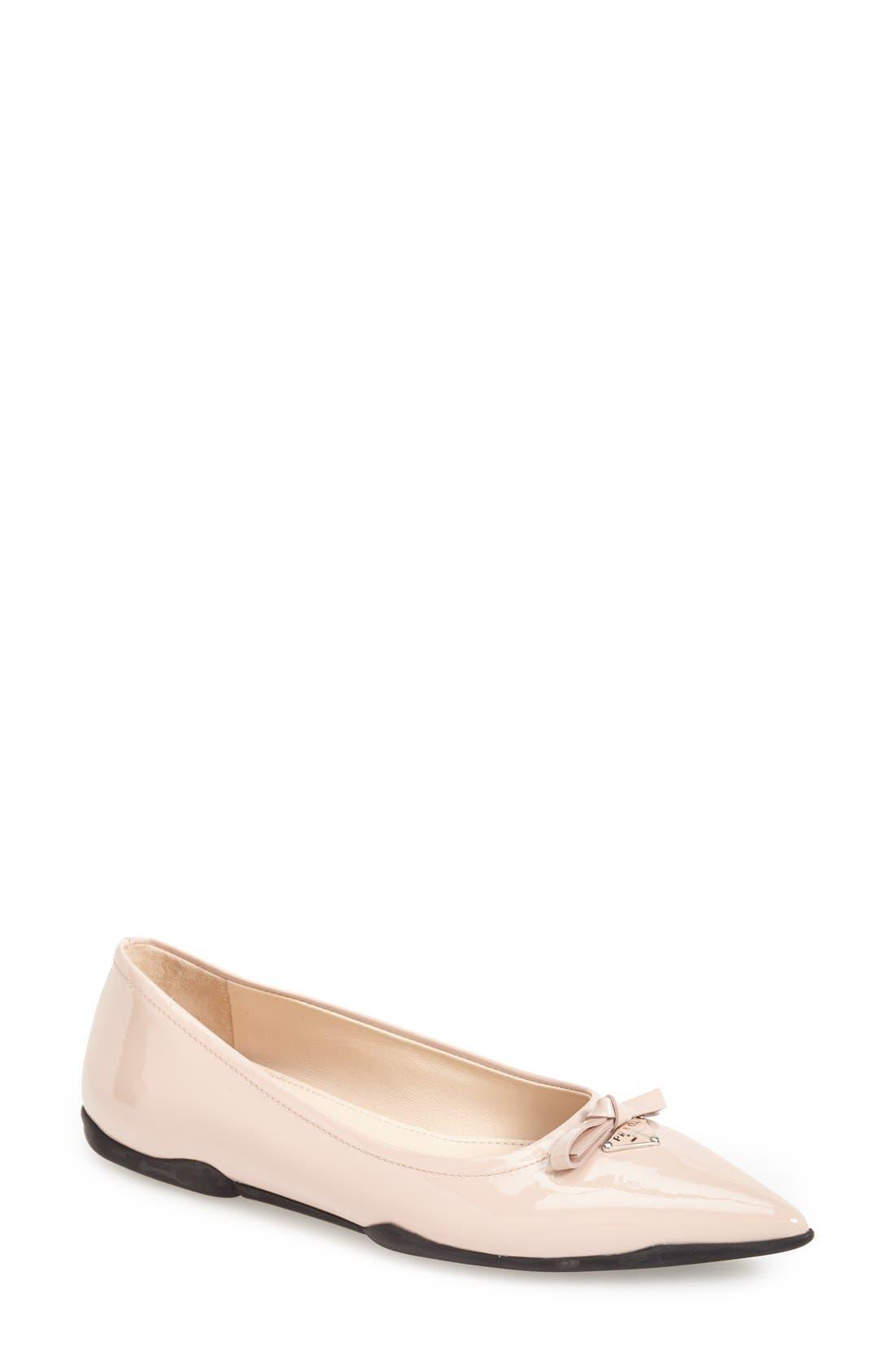 Alternate Image 1 Selected - Prada Pointy Toe Flat (Women)