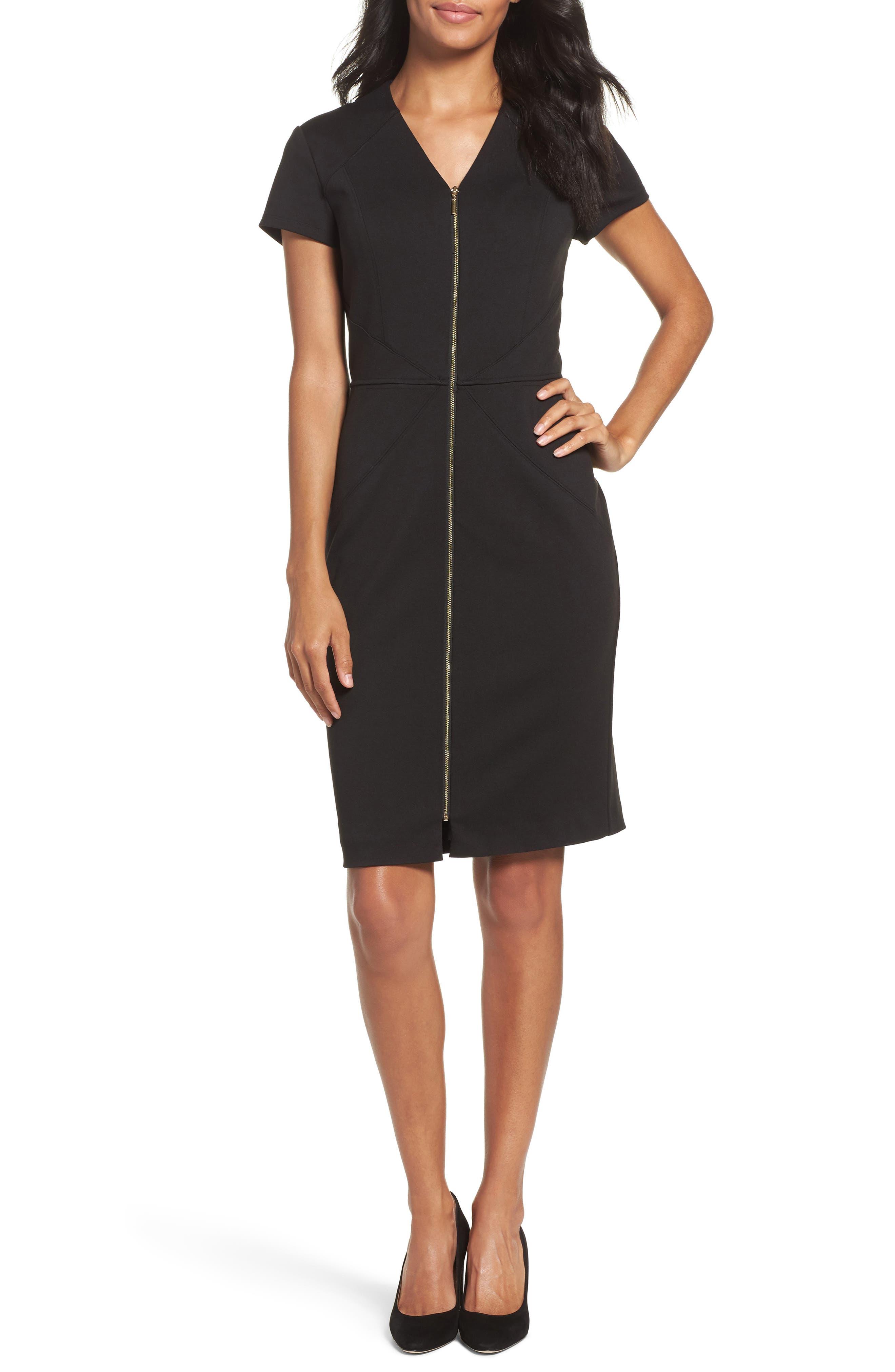 Ellen Tracy Zip Front Sheath Dress (Regular & Petite)