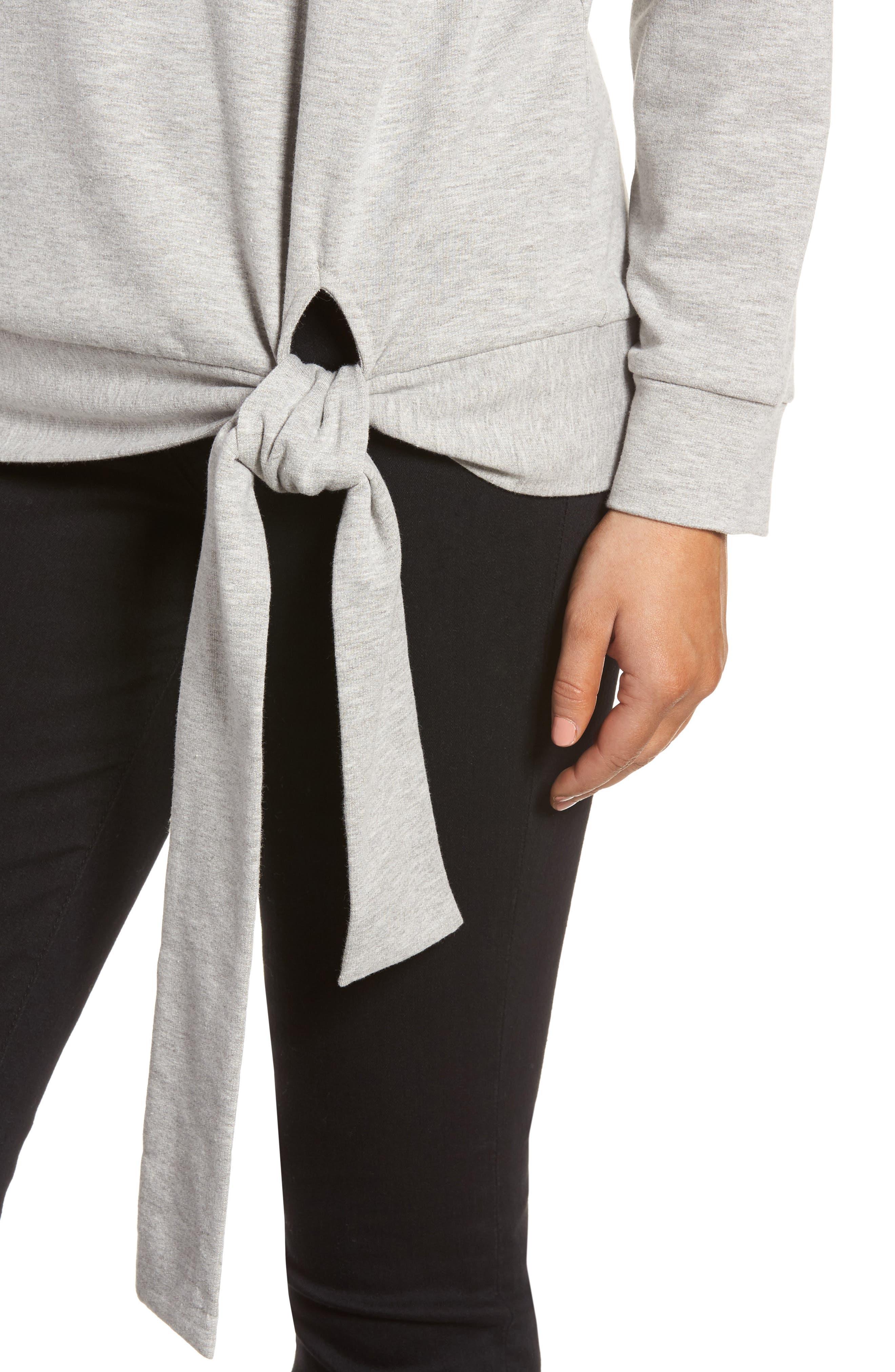 Alternate Image 4  - Caslon® Tie Knot Sweatshirt (Regular & Petite)