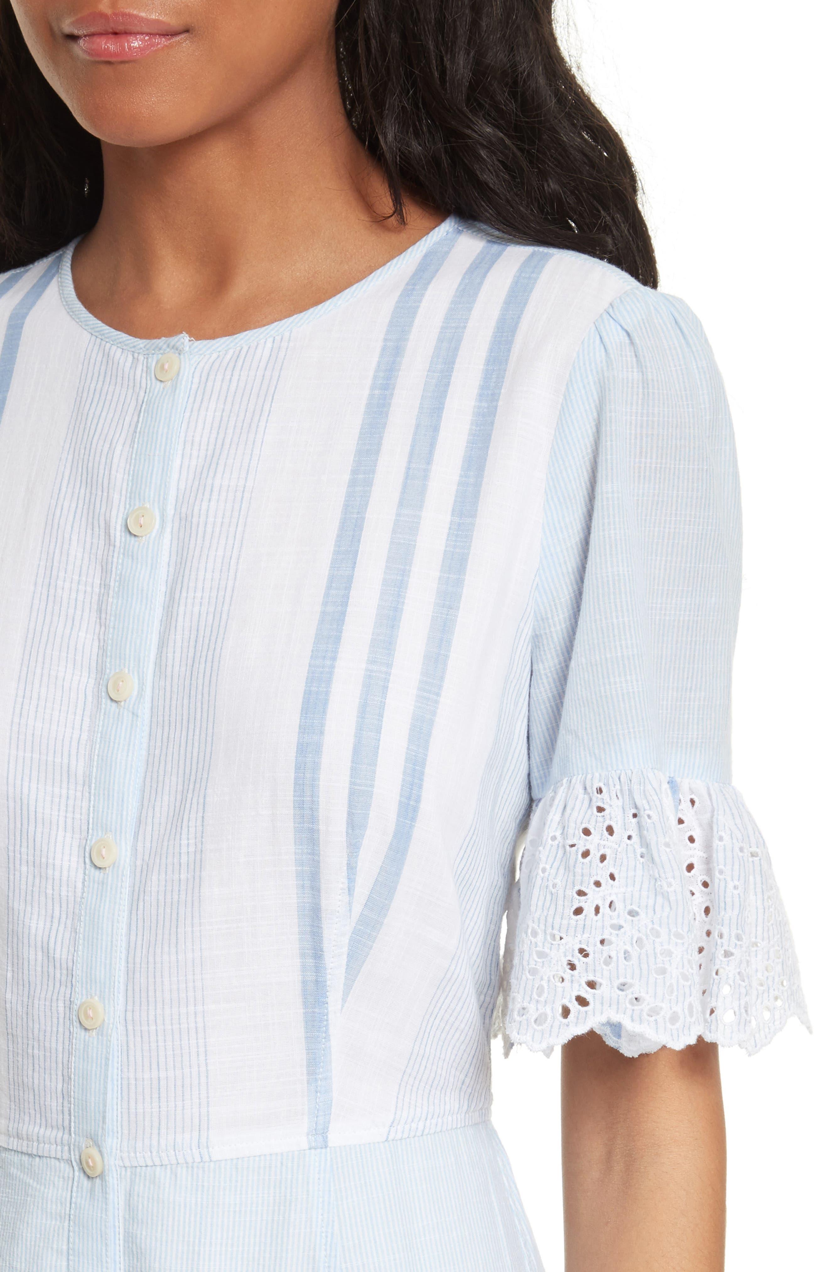 Alternate Image 4  - La Vie Rebecca Taylor Stripe Cotton Midi Dress