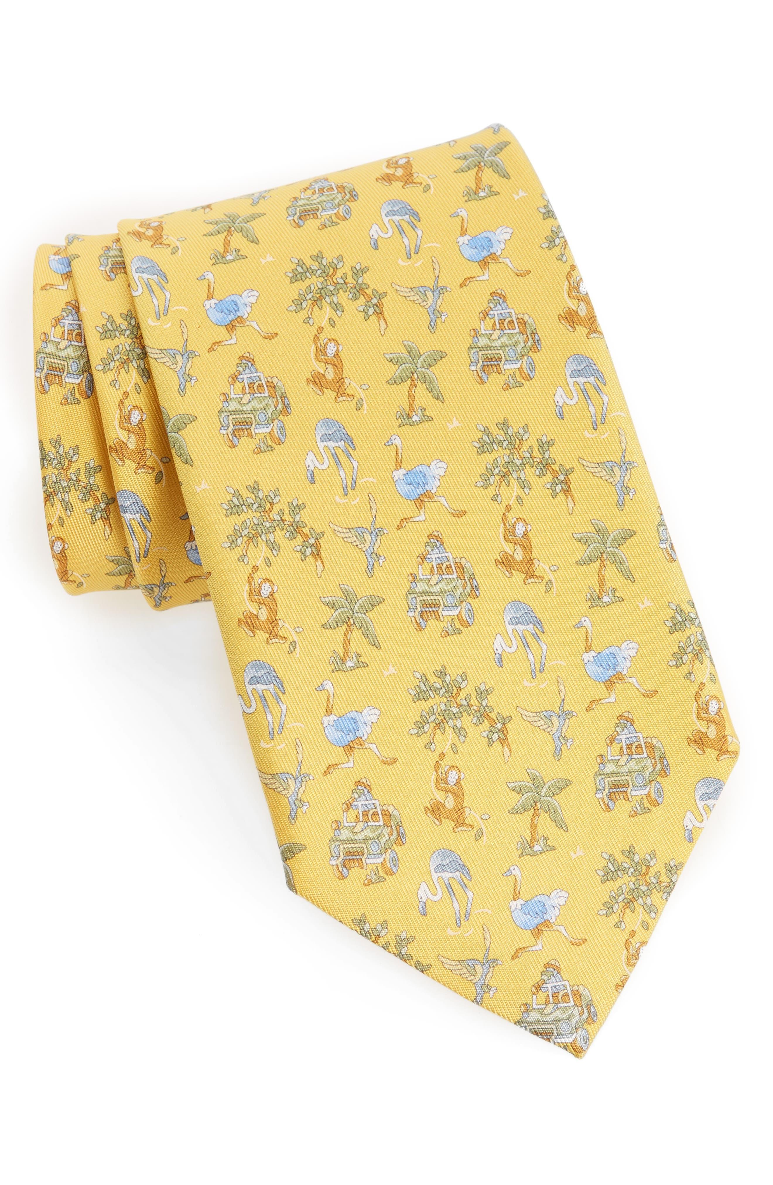 Salvatore Ferragamo Safari Print Silk Tie