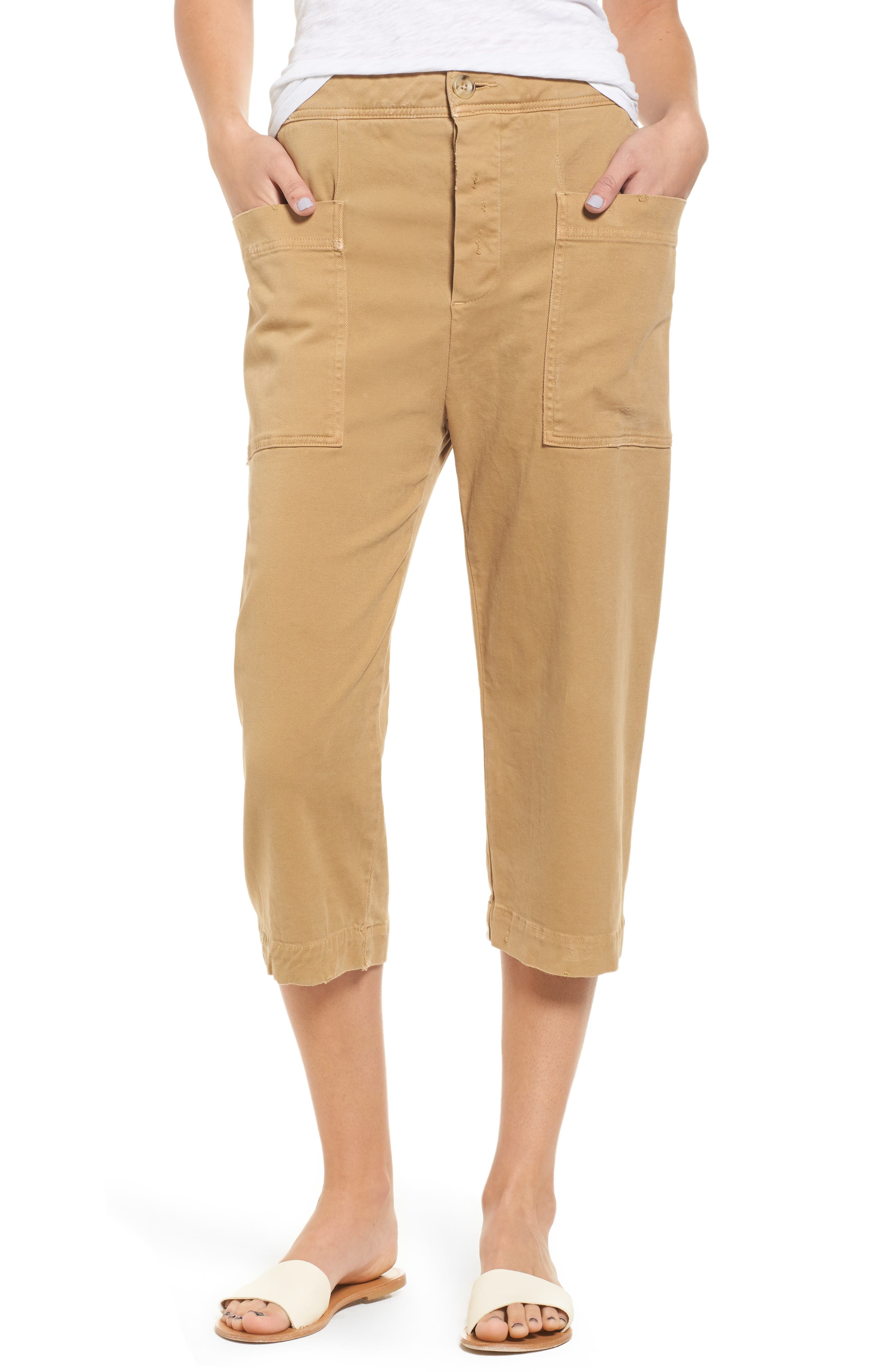 James Perse Crop Stretch Cotton Twill Pants