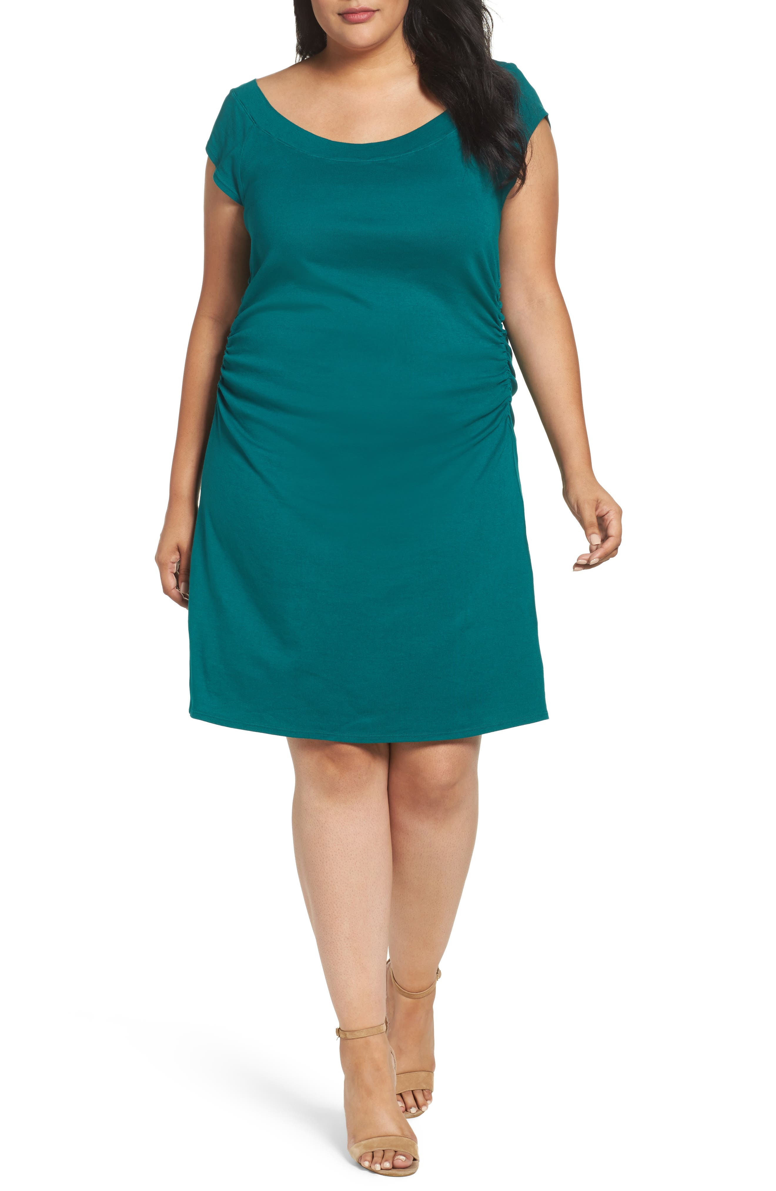 Three Dots Side Ruched A-Line Jersey Dress (Plus Size)