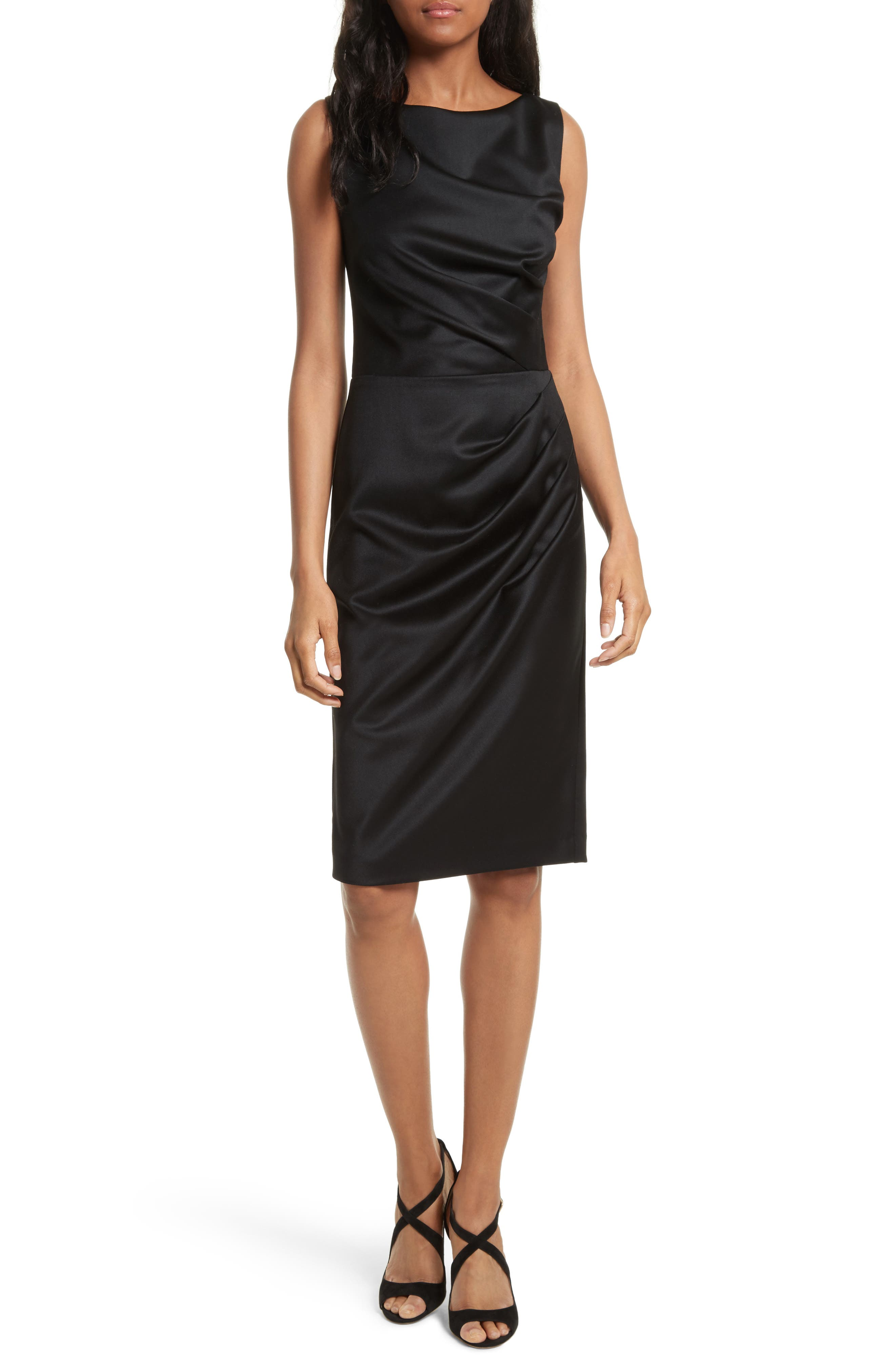 Alice + Olivia Klara Drape Stretch Wool Sheath Dress