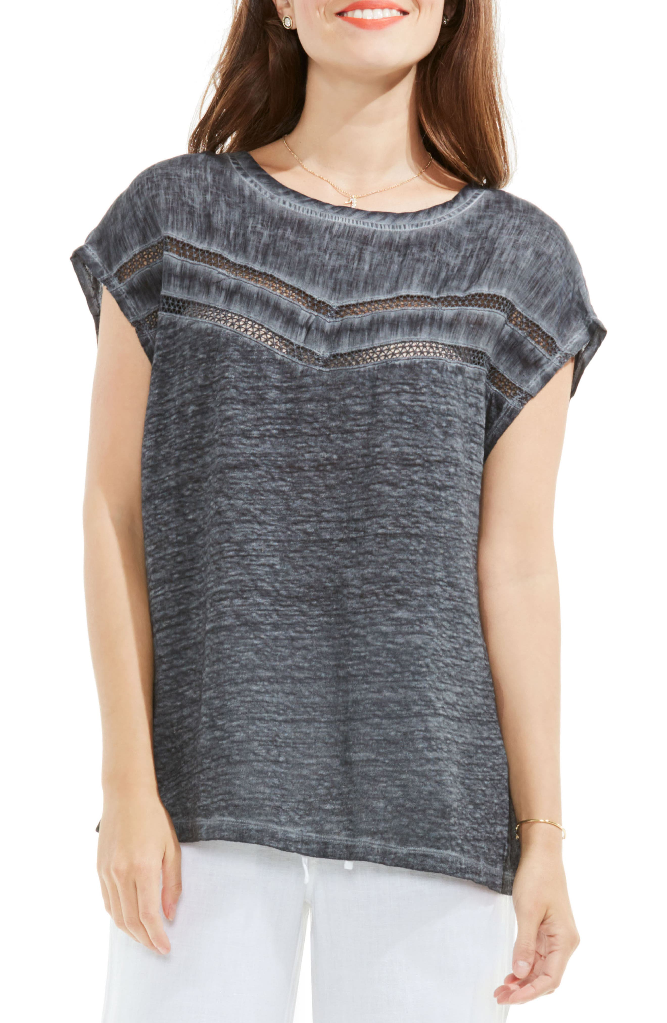 Two by Vince Camuto Crochet Lace Trim Top