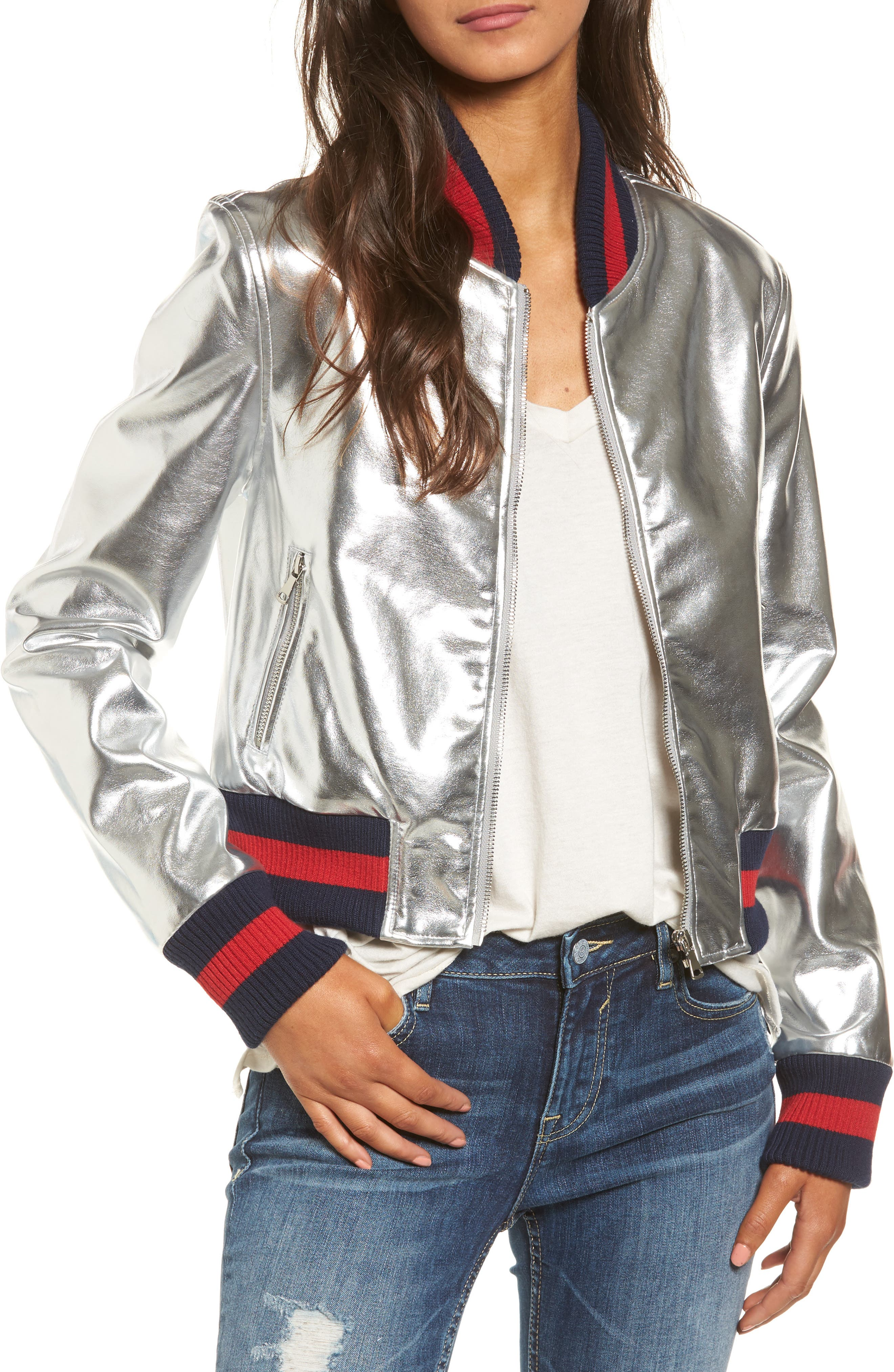 Tinsel Metallic Faux Leather Bomber