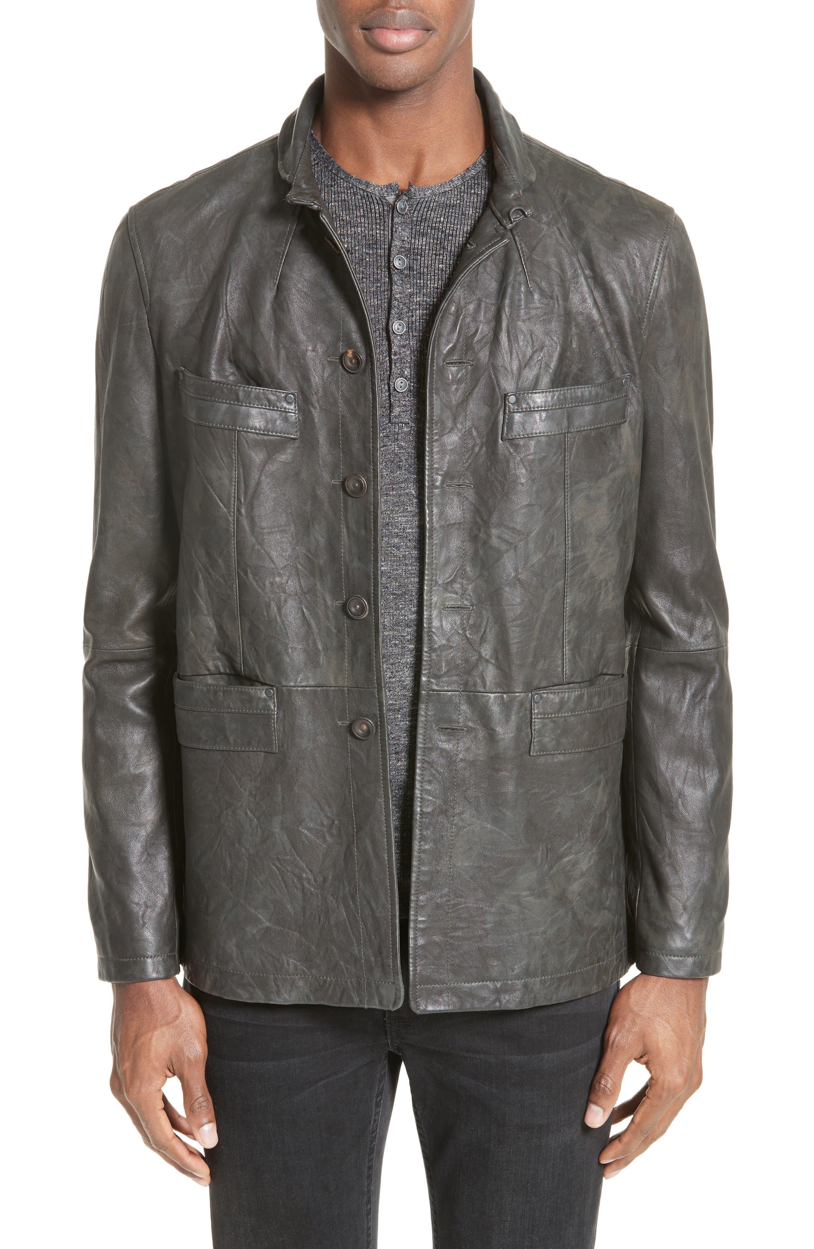 John Varvatos Collection Slim Leather Jacket