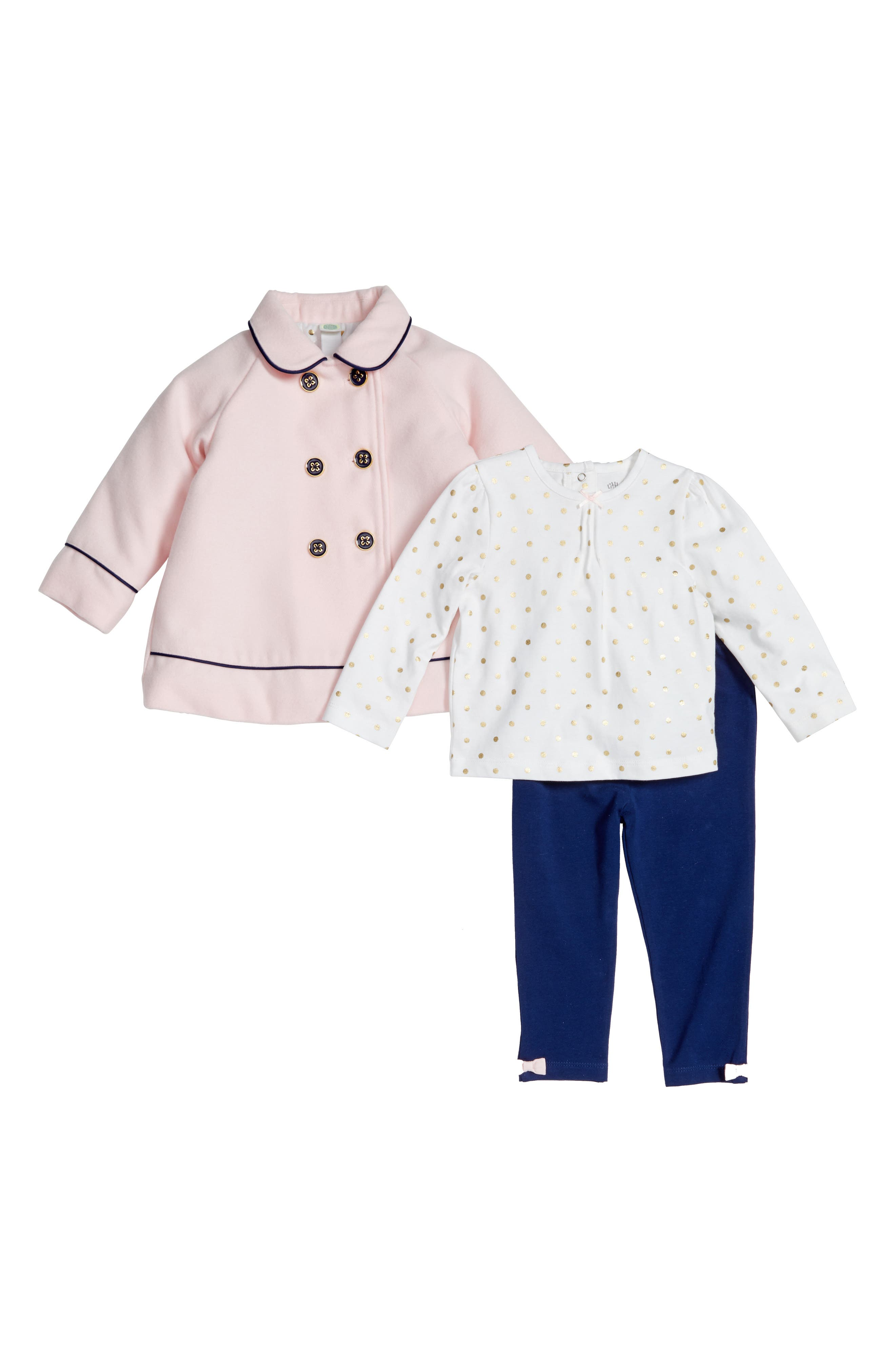 Little Me Peacoat, Tee & Leggings (Baby Girls)
