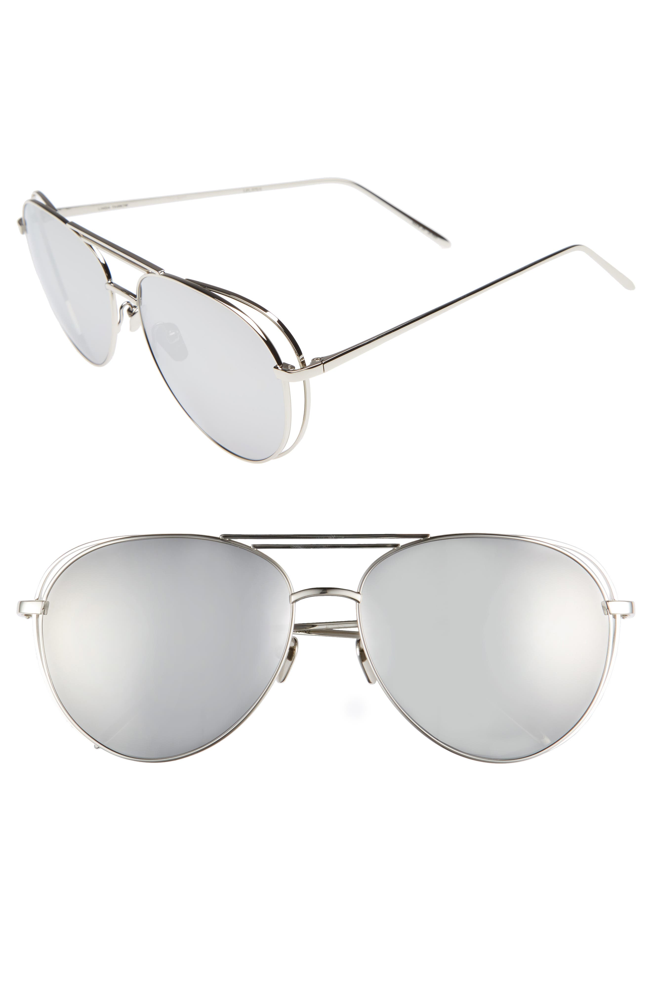 Linda Farrow 60mm Mirrored 18 Karat White Gold Sunglasses