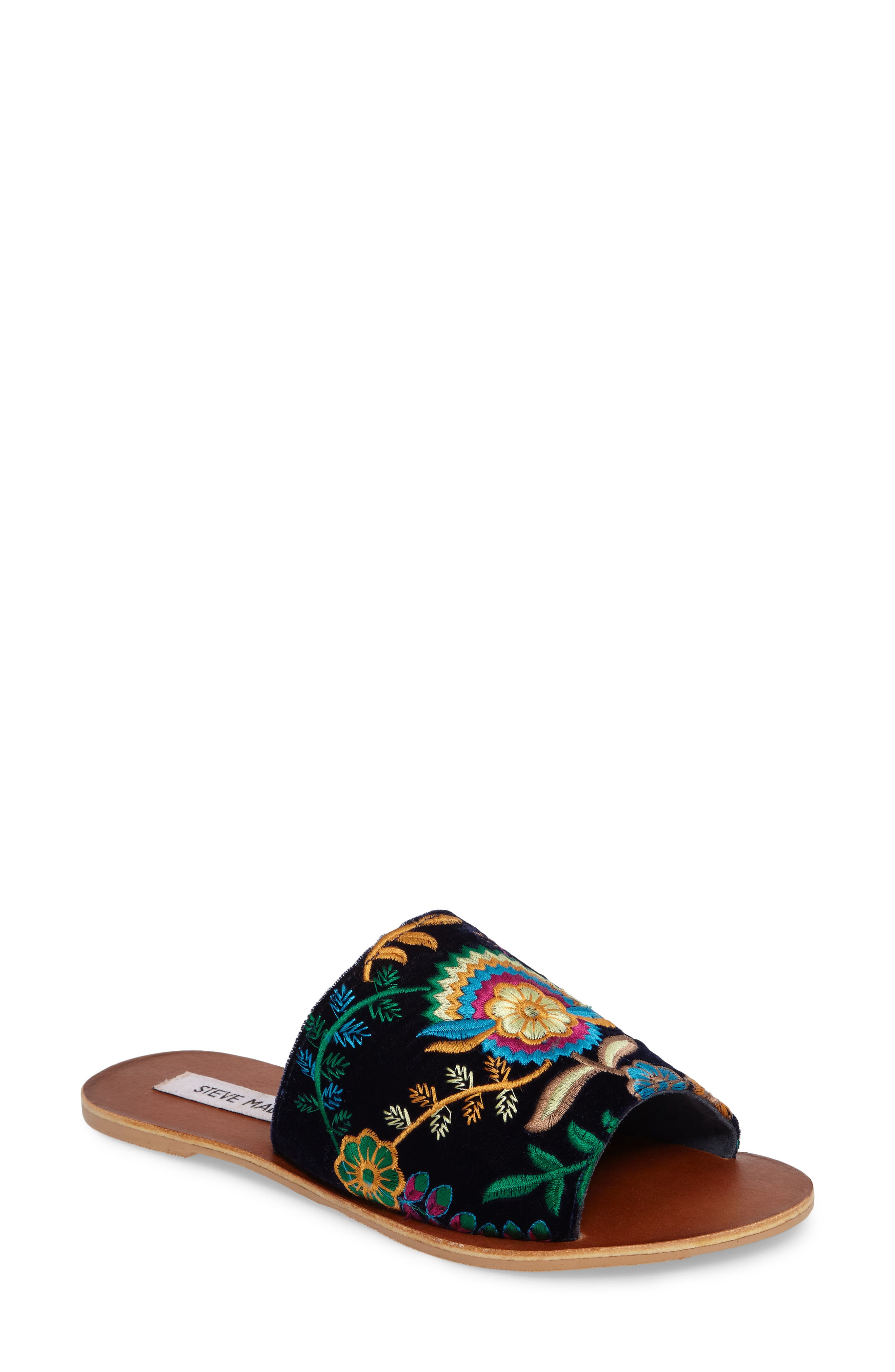 Steve Madden Anne Embroidered Slide Sandal (Women)