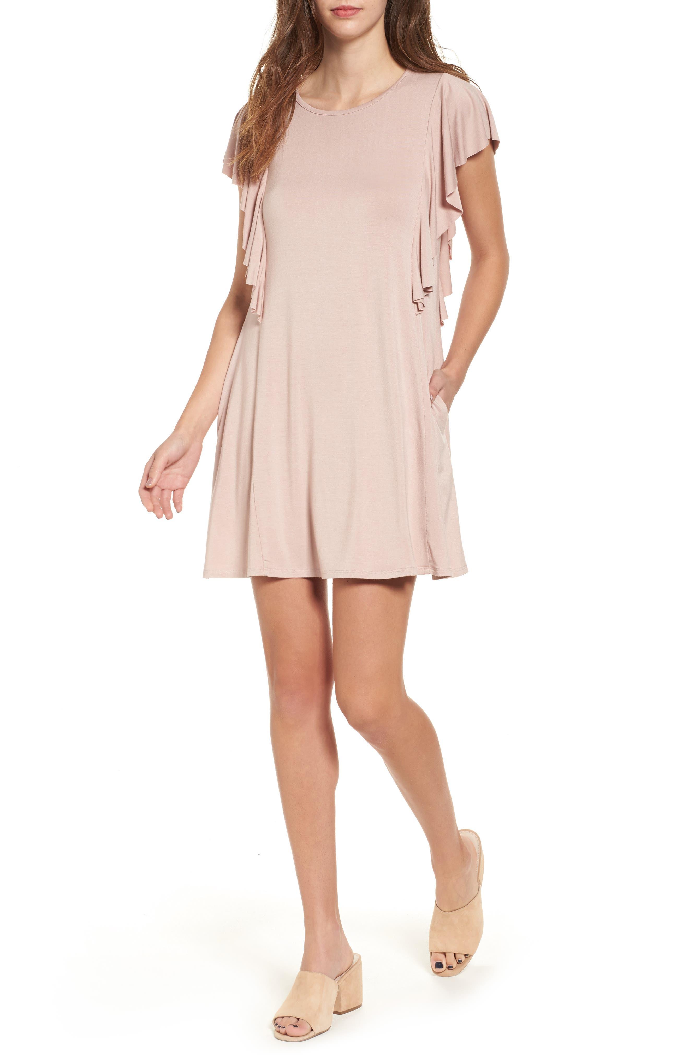 Main Image - Socialite Ruffle Sleeve T-Shirt Dress