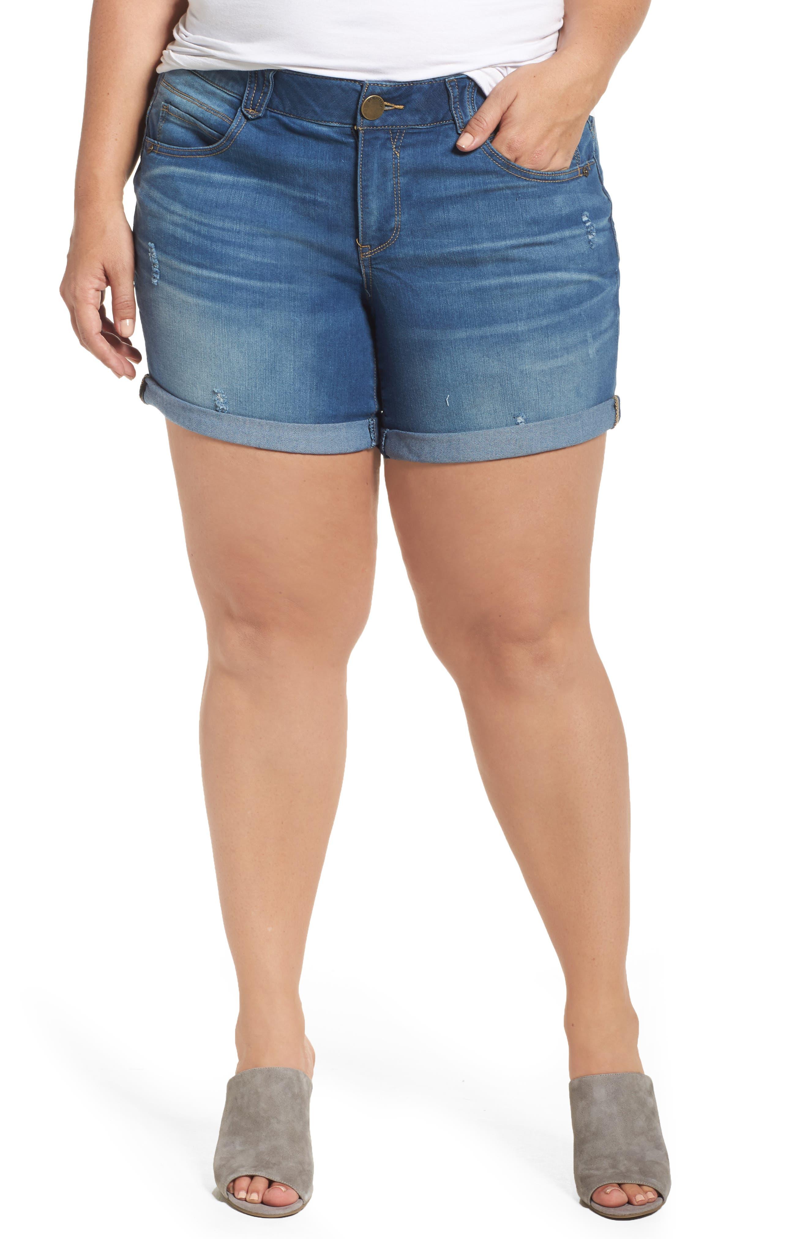 Democracy Distressed Roll Cuff Denim Shorts (Plus Size)