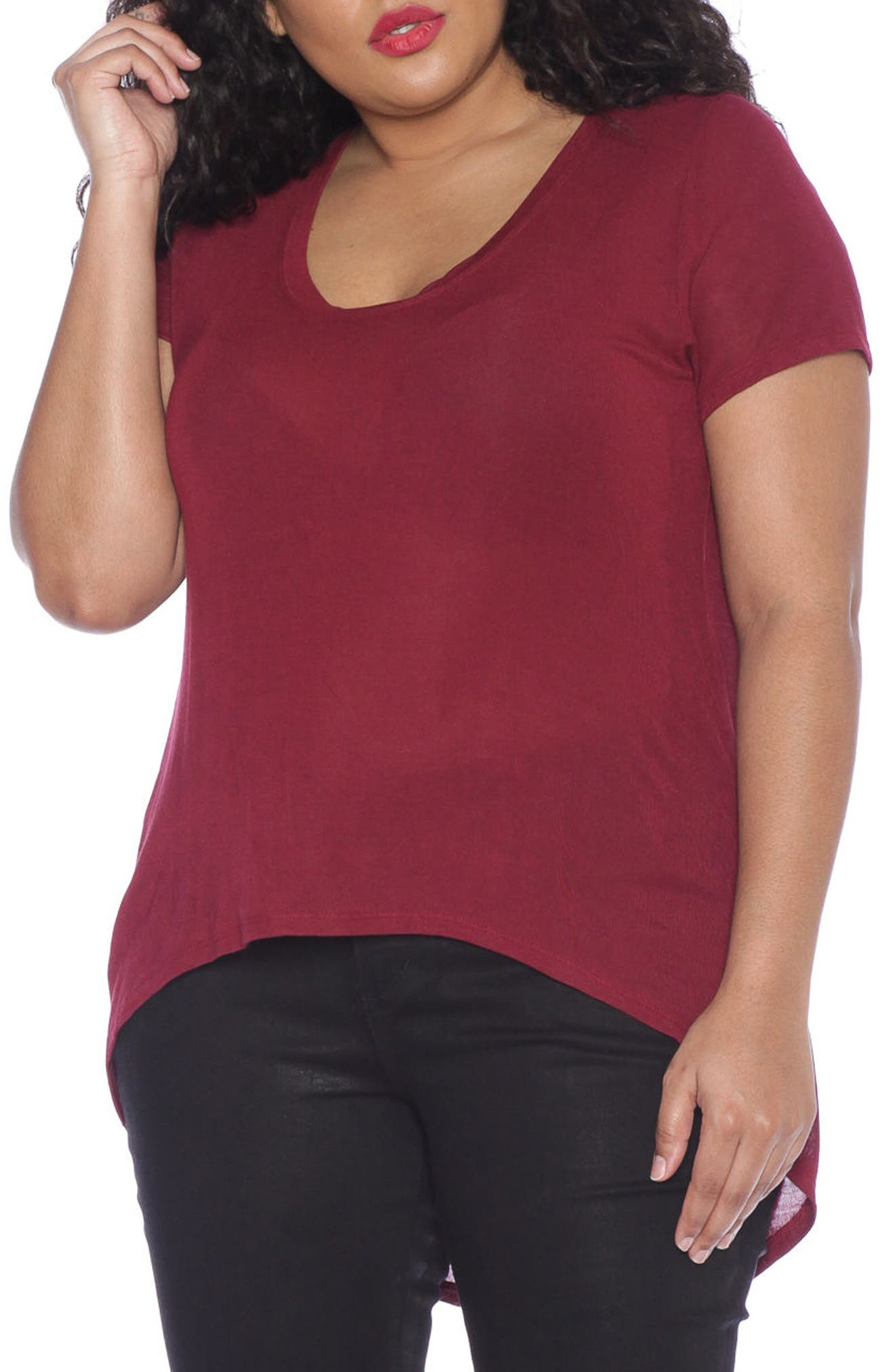 SLINK Jeans High/Low Scoop Neck Tee (Plus Size)